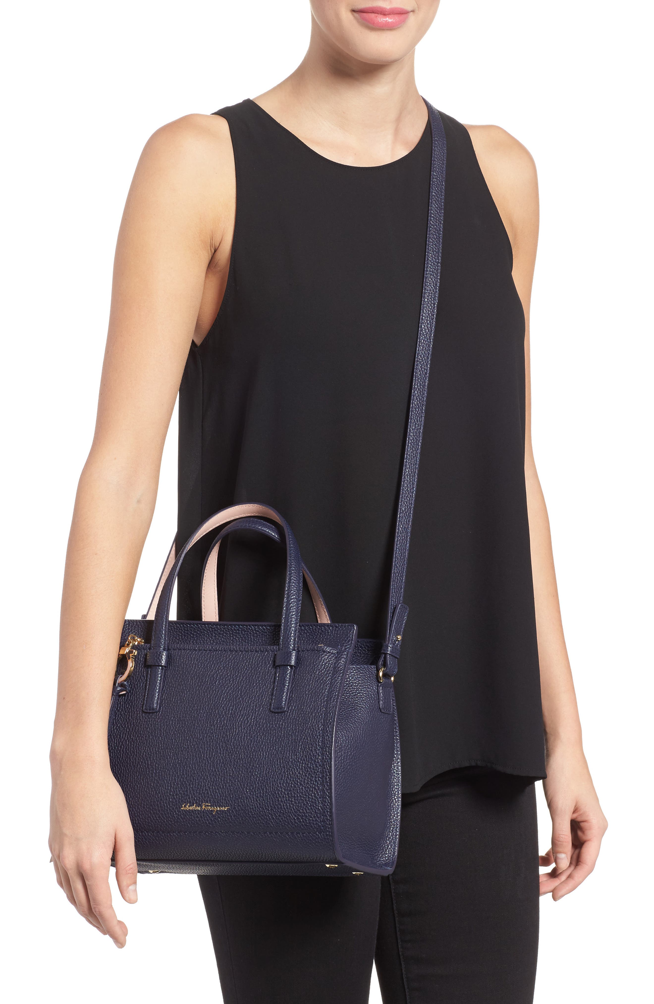 Small Amy Bicolor Leather Tote,                             Alternate thumbnail 2, color,                             292
