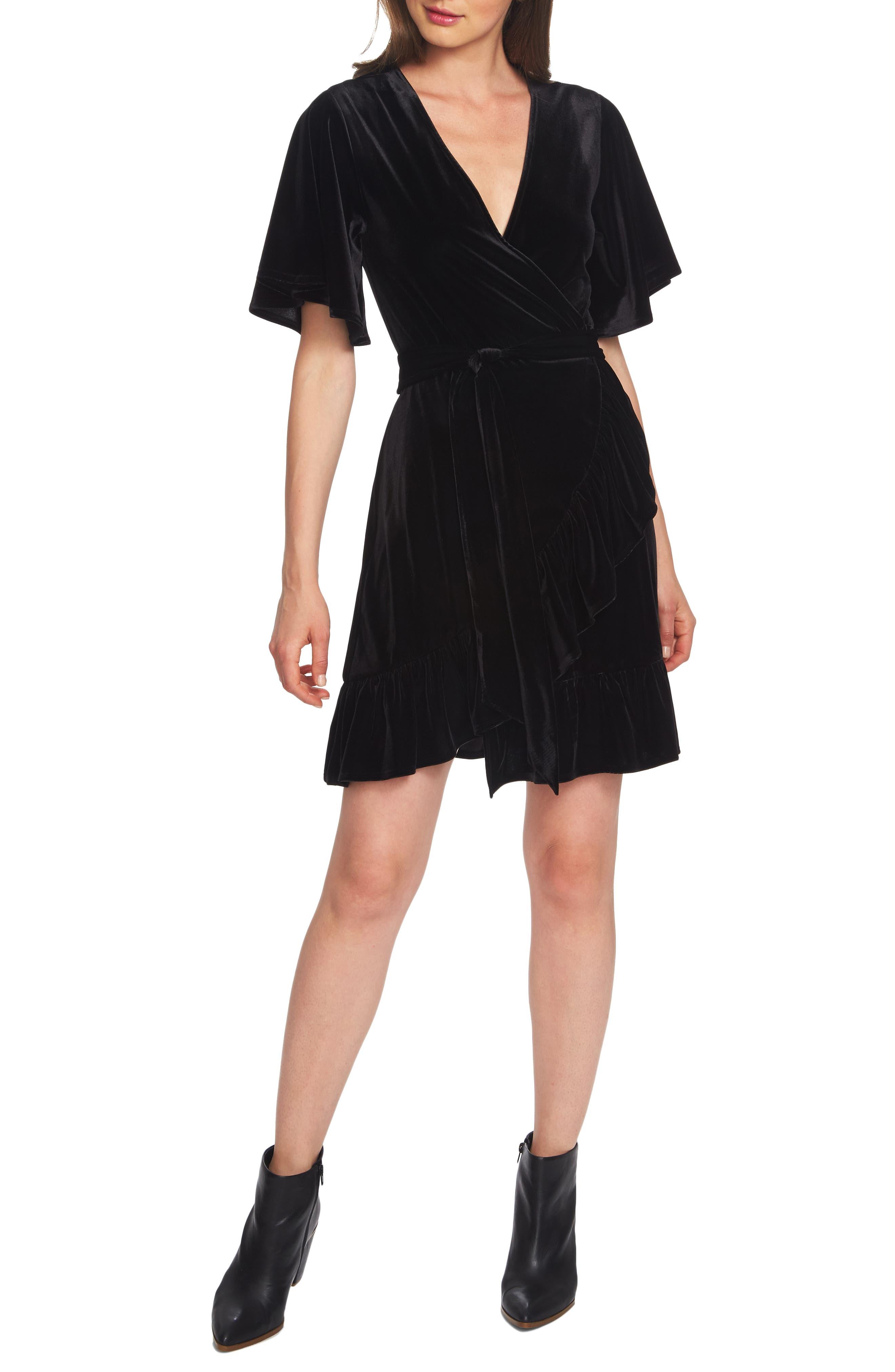 1.state Flutter Sleeve Stretch Velvet Wrap Dress, Black