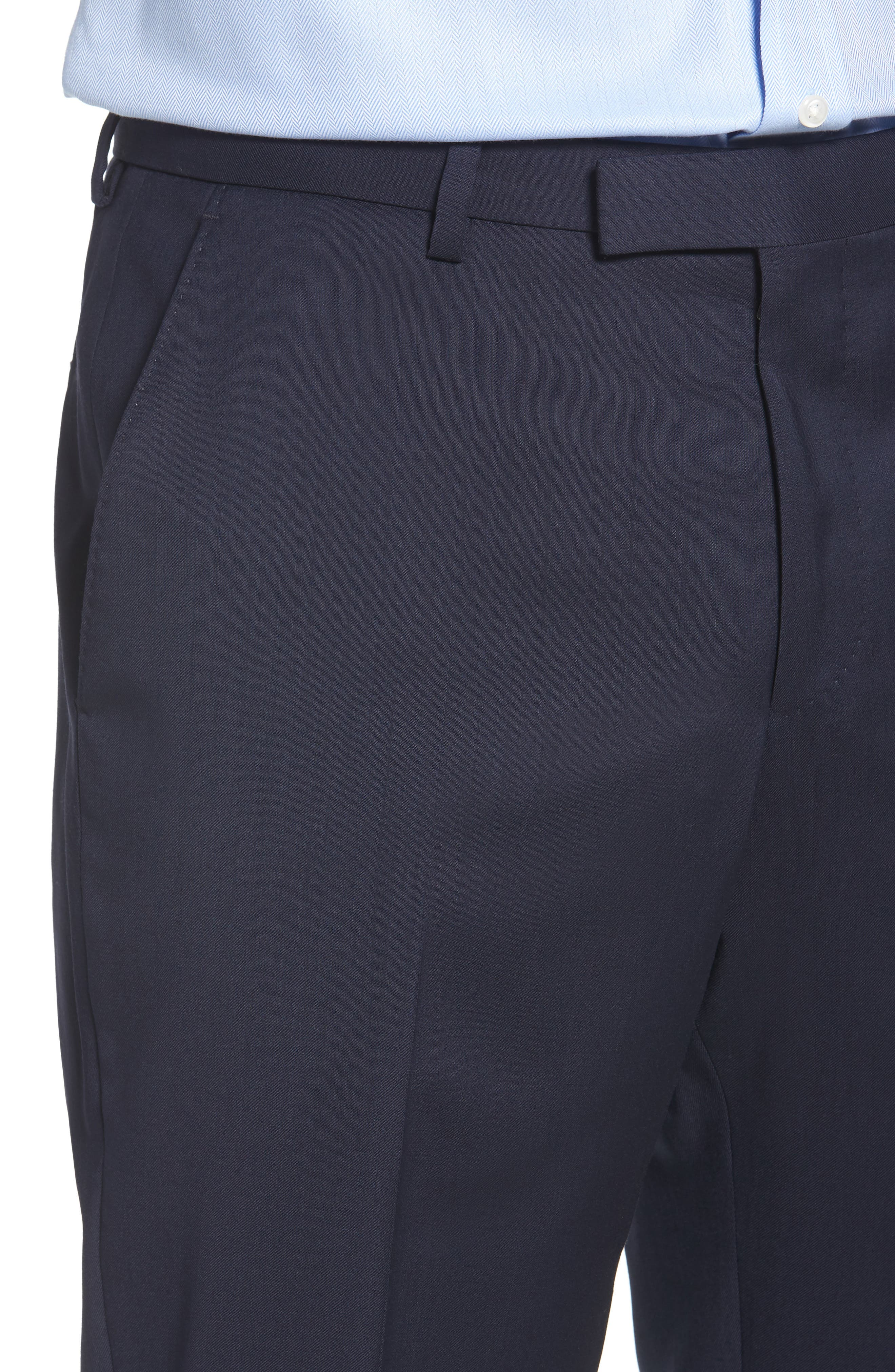 Leenon Flat Front Regular Fit Solid Wool Trousers,                             Alternate thumbnail 4, color,                             NAVY
