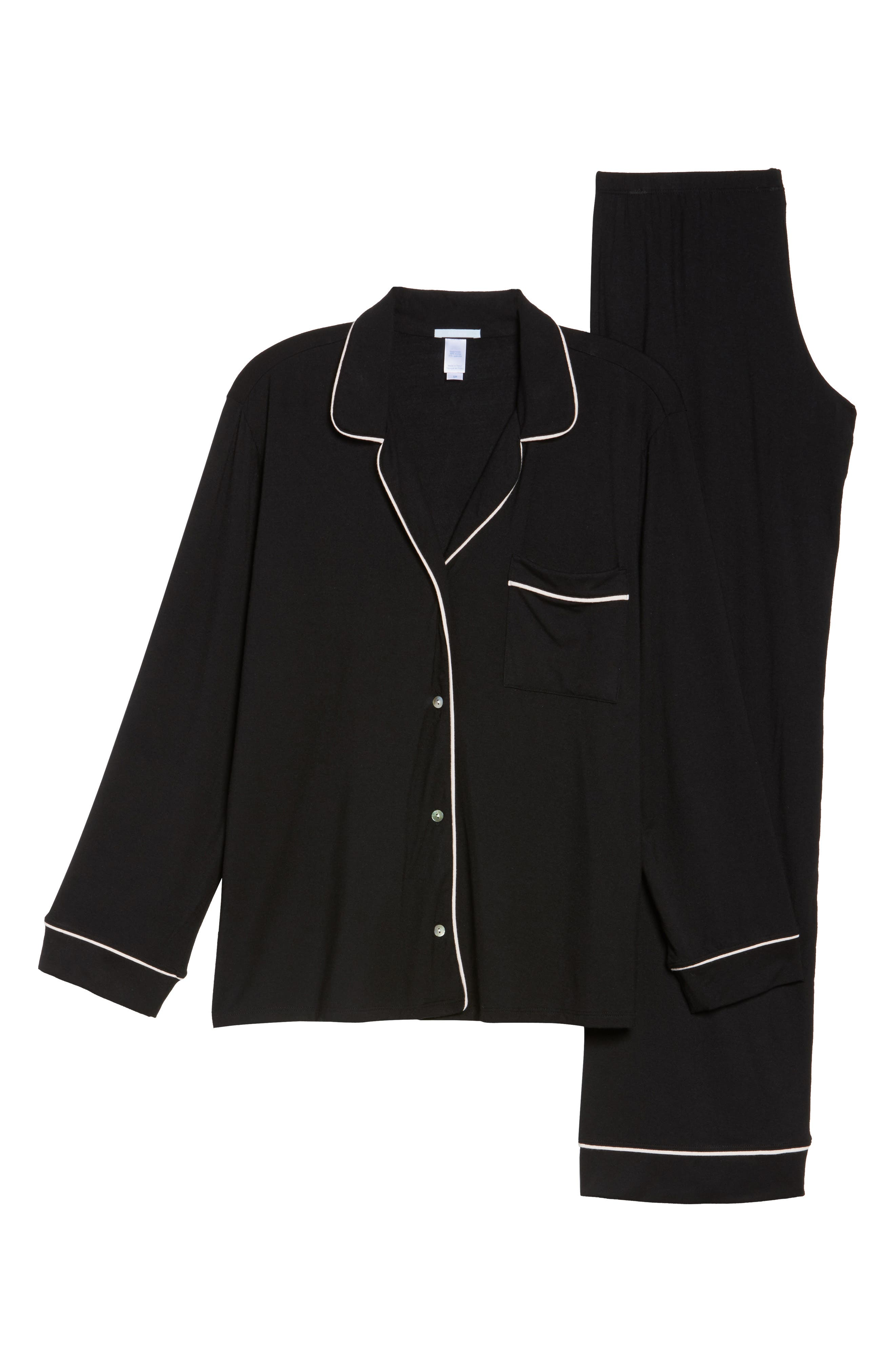 'Giselle' Pajamas,                             Alternate thumbnail 7, color,                             BLACK/ SORBET PINK