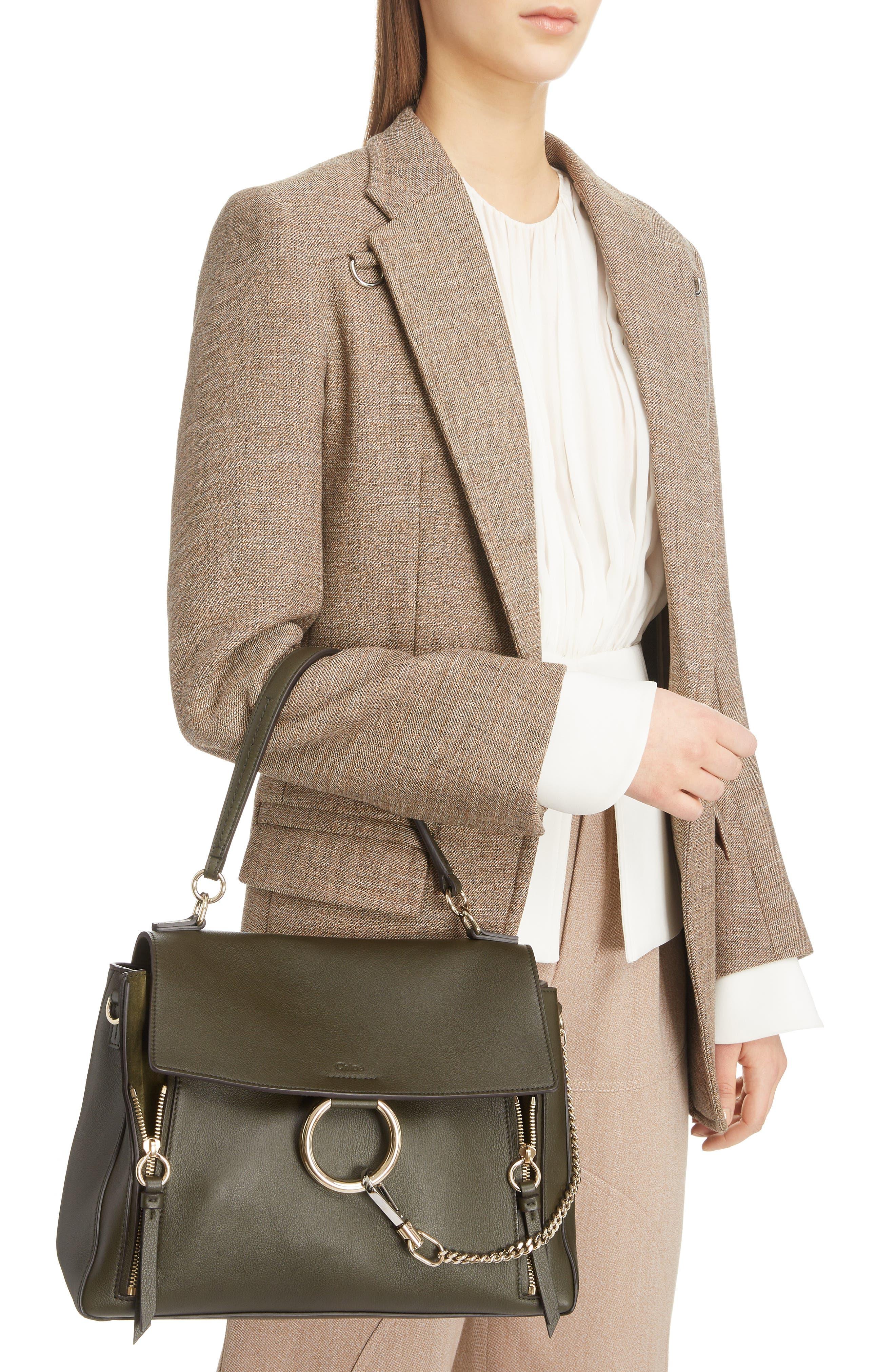 Medium Faye Leather Shoulder Bag,                             Alternate thumbnail 2, color,                             DEEP FOREST