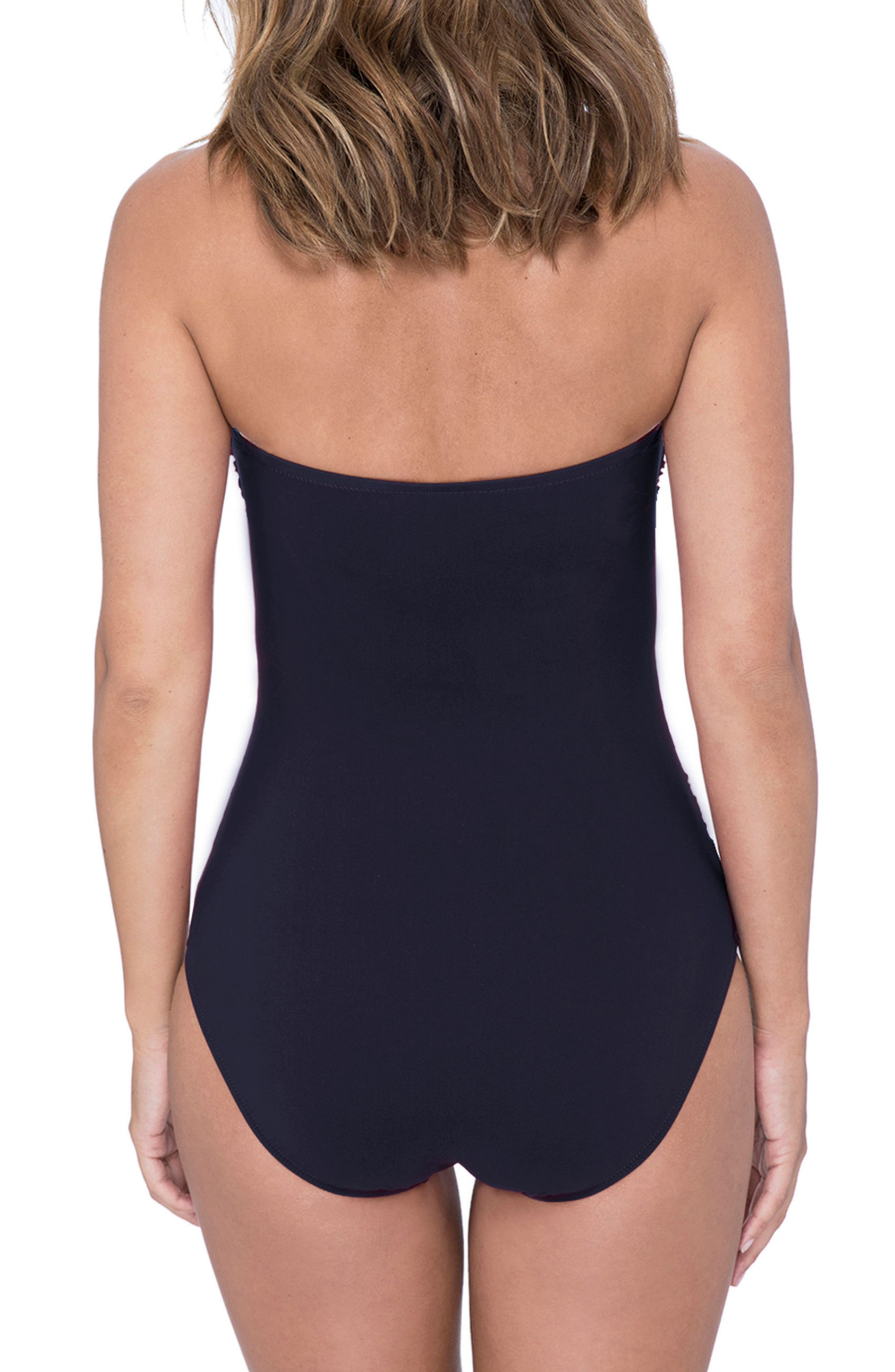 Lace-Up Strapless One-Piece Swimsuit,                             Alternate thumbnail 2, color,                             BLACK