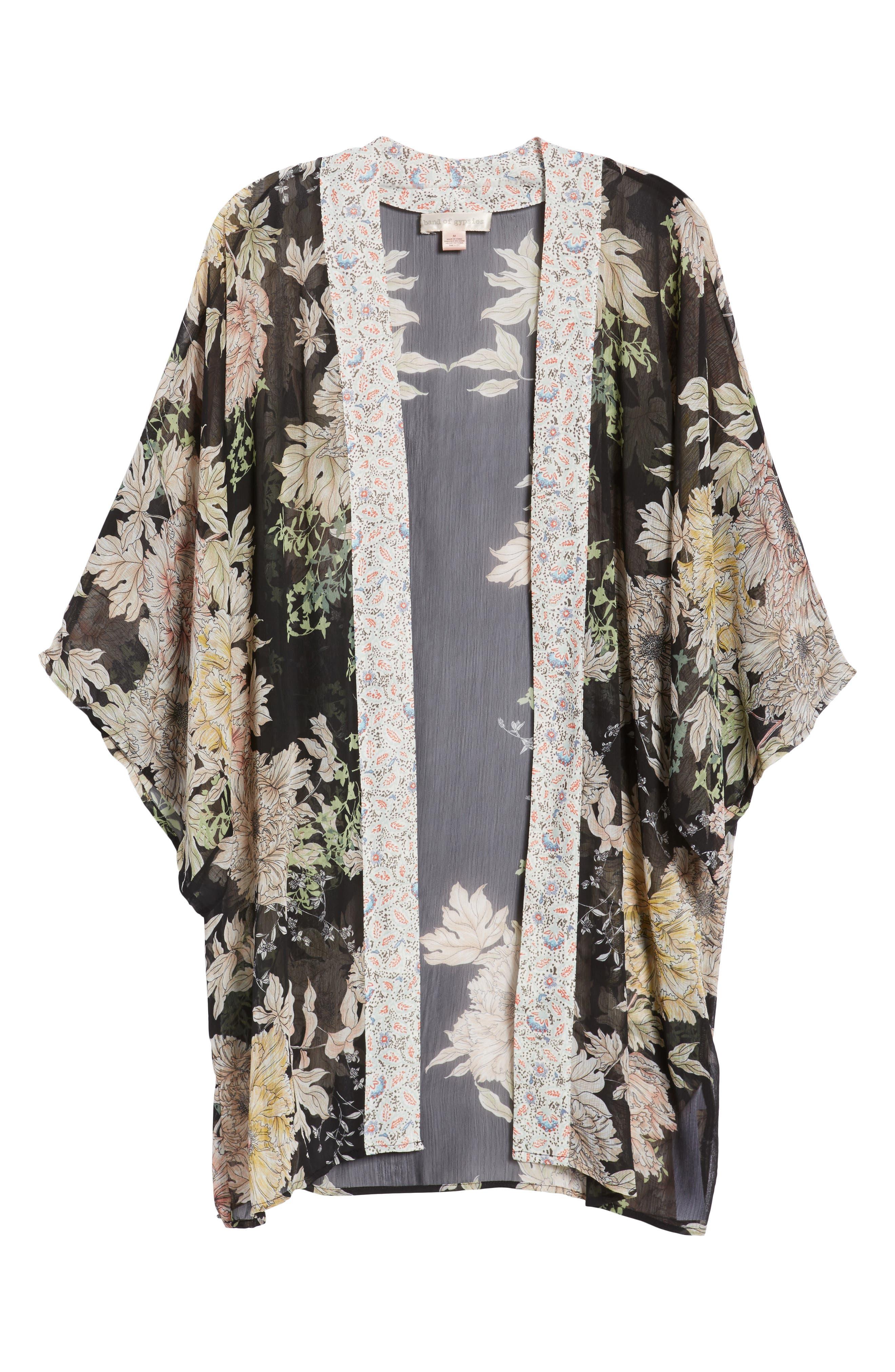 Floral Print Kimono,                             Alternate thumbnail 6, color,                             001