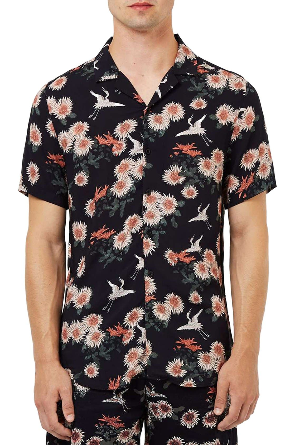 Floral Print Revere Collar Short Sleeve Shirt, Main, color, 001