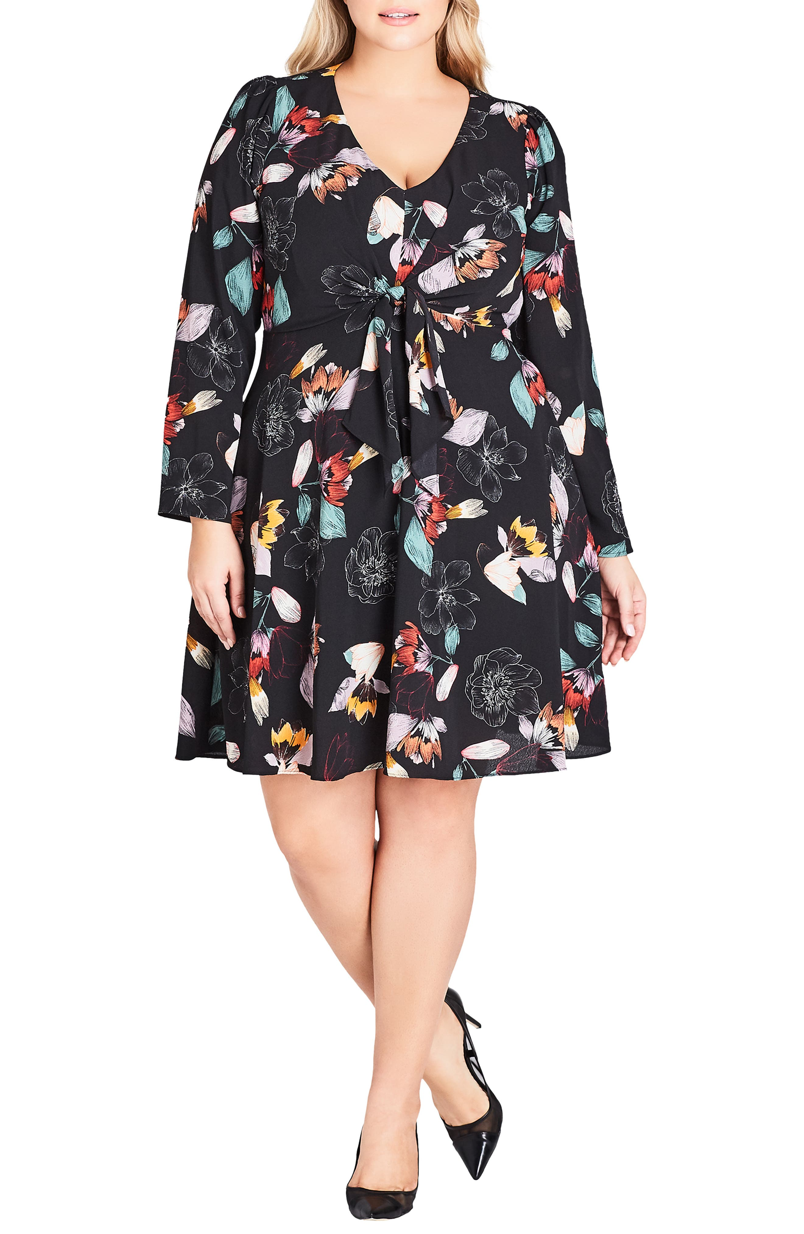 Plus Size City Chic Floral Sketch Fit & Flare Dress, Black