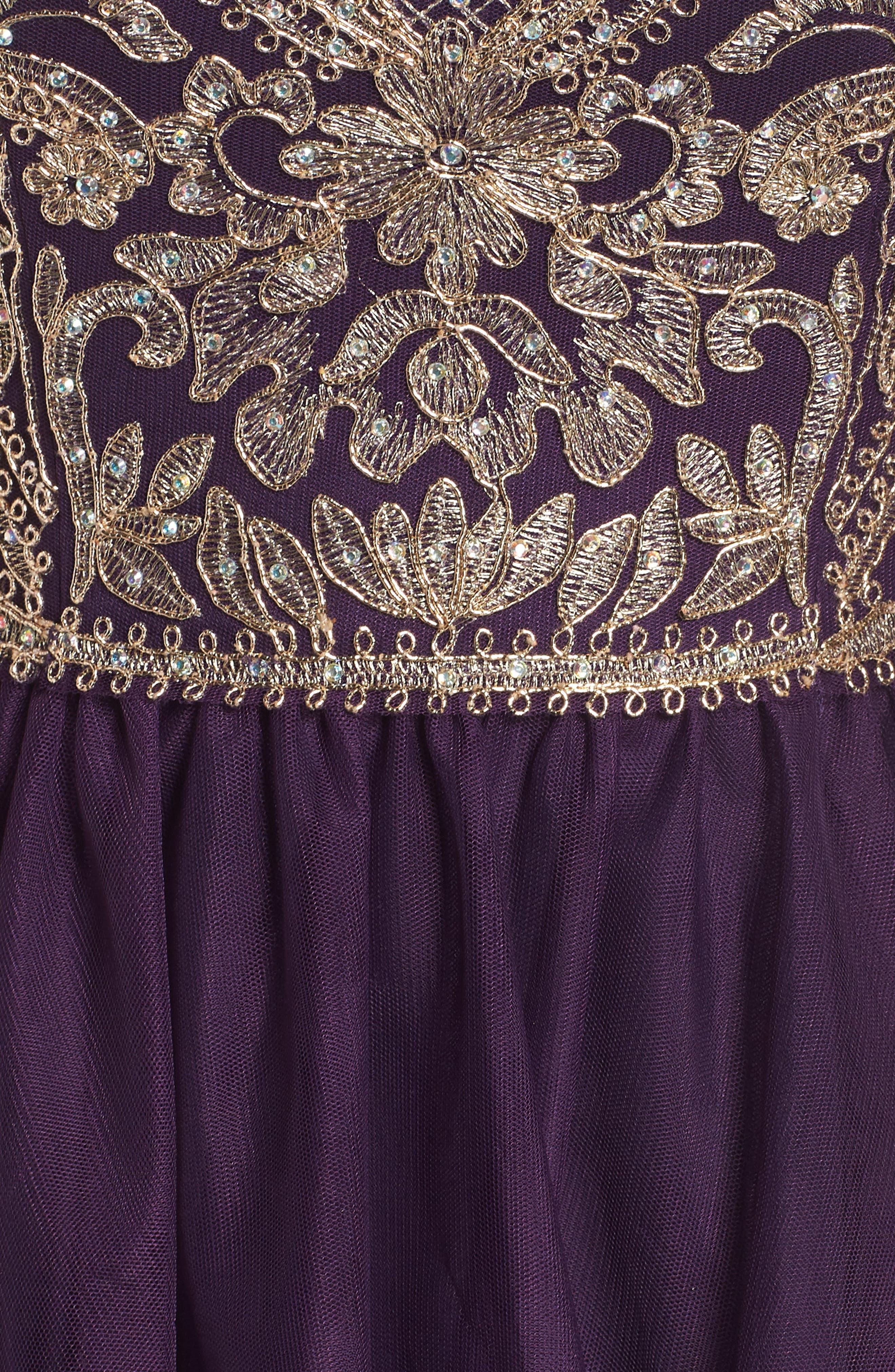 BLONDIE NITES,                             High Neck Appliqué Fit & Flare Dress,                             Alternate thumbnail 6, color,                             522