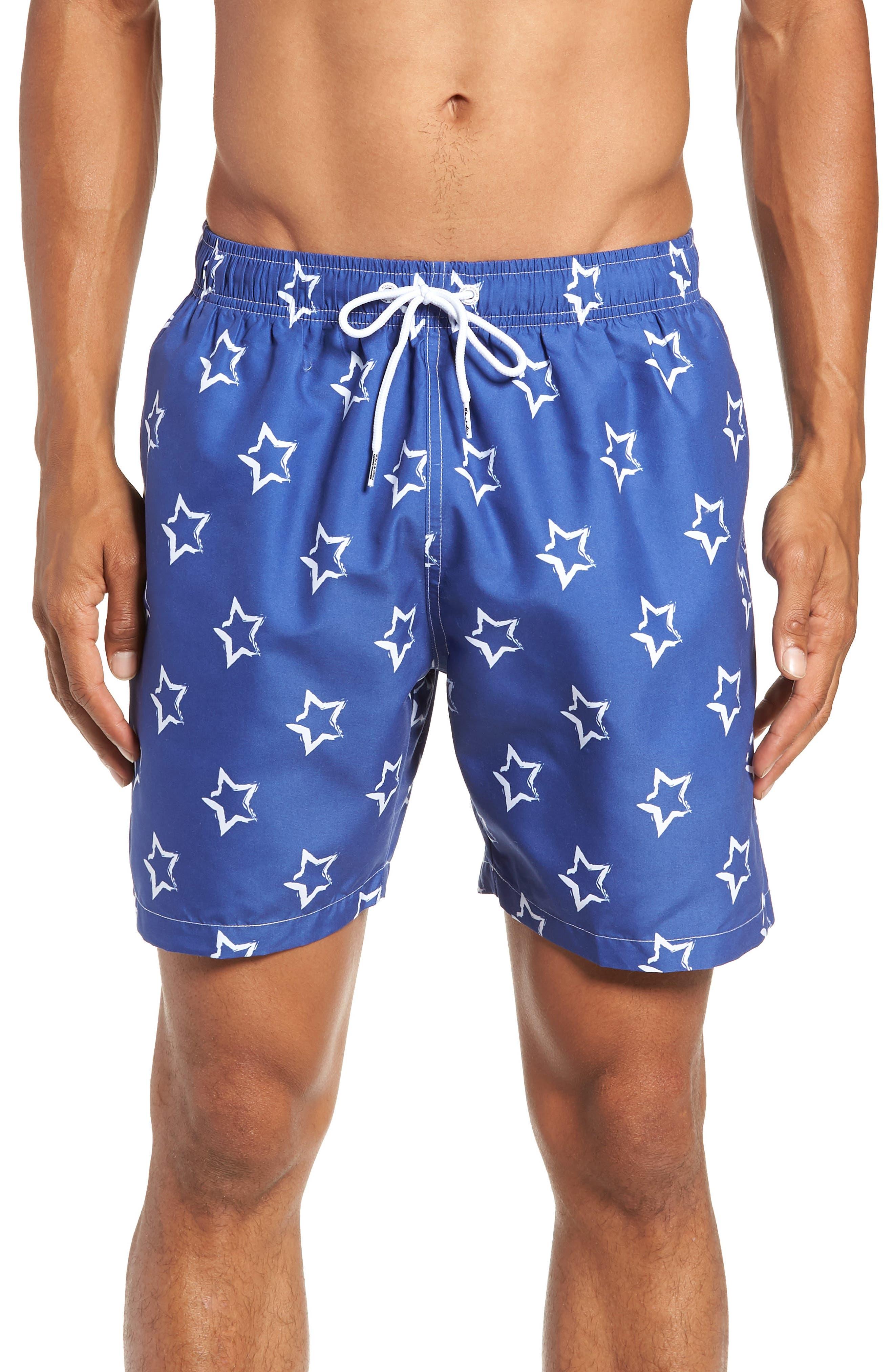 Star Print Swim Trunks,                         Main,                         color, BLUE