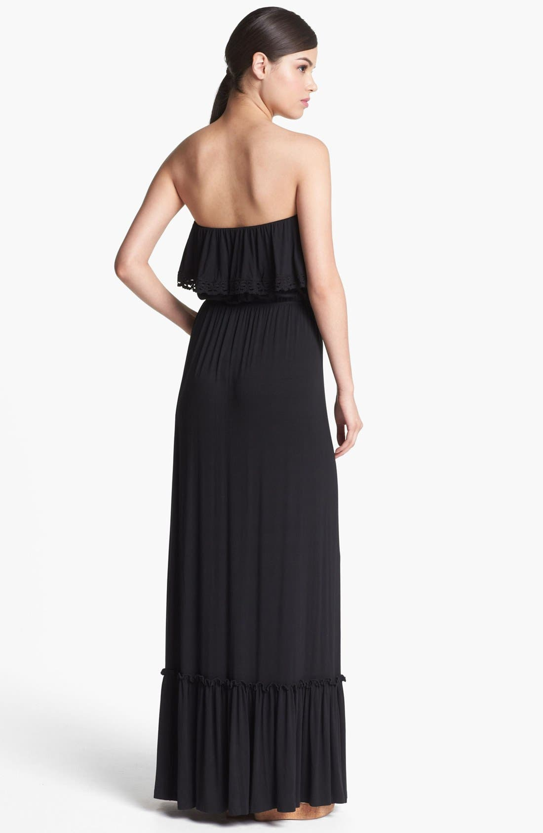 Ruffled Strapless Maxi Dress,                             Alternate thumbnail 3, color,                             001