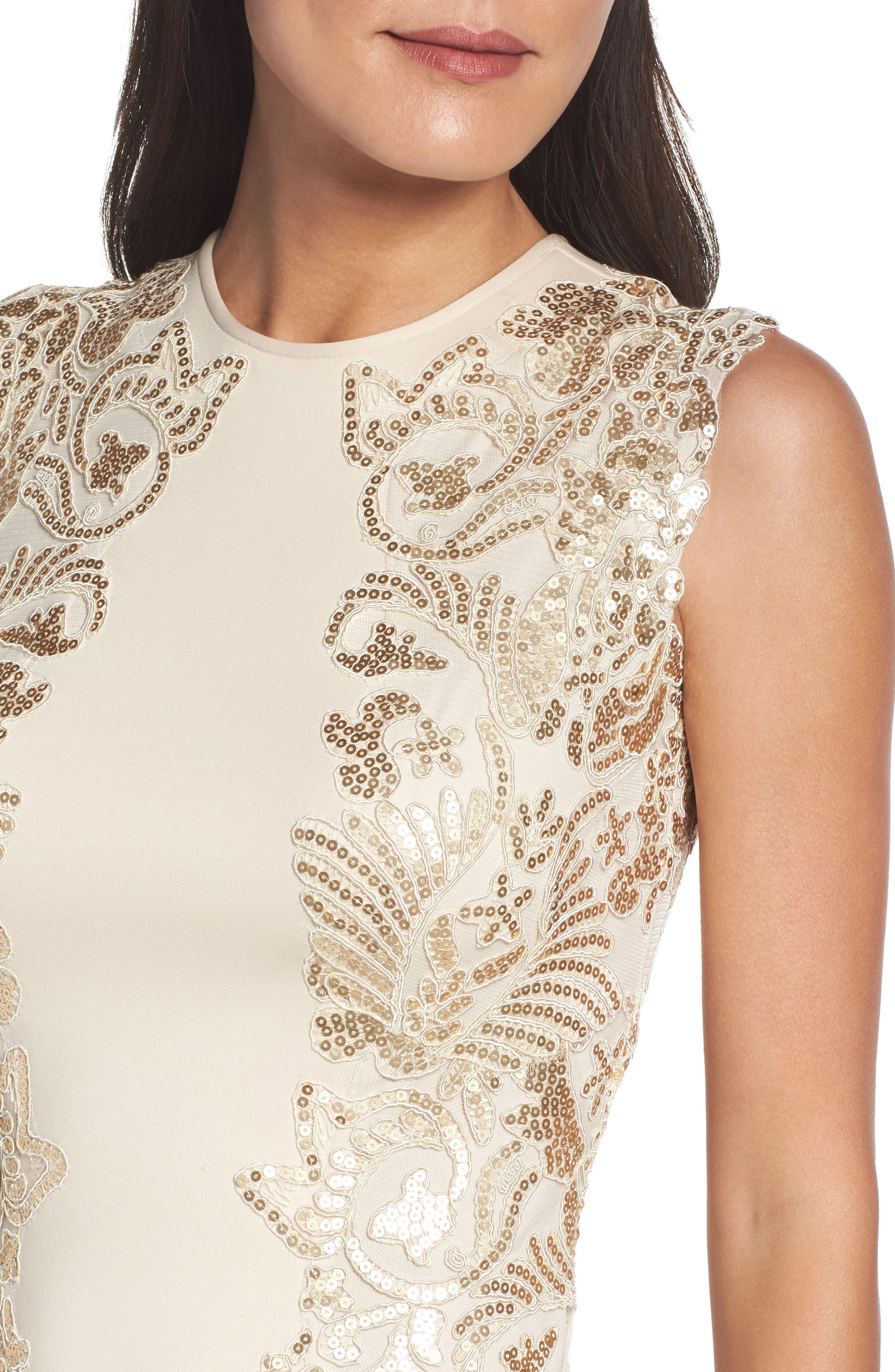 Sequin Appliqué Neoprene Sheath Dress,                             Alternate thumbnail 4, color,                             250