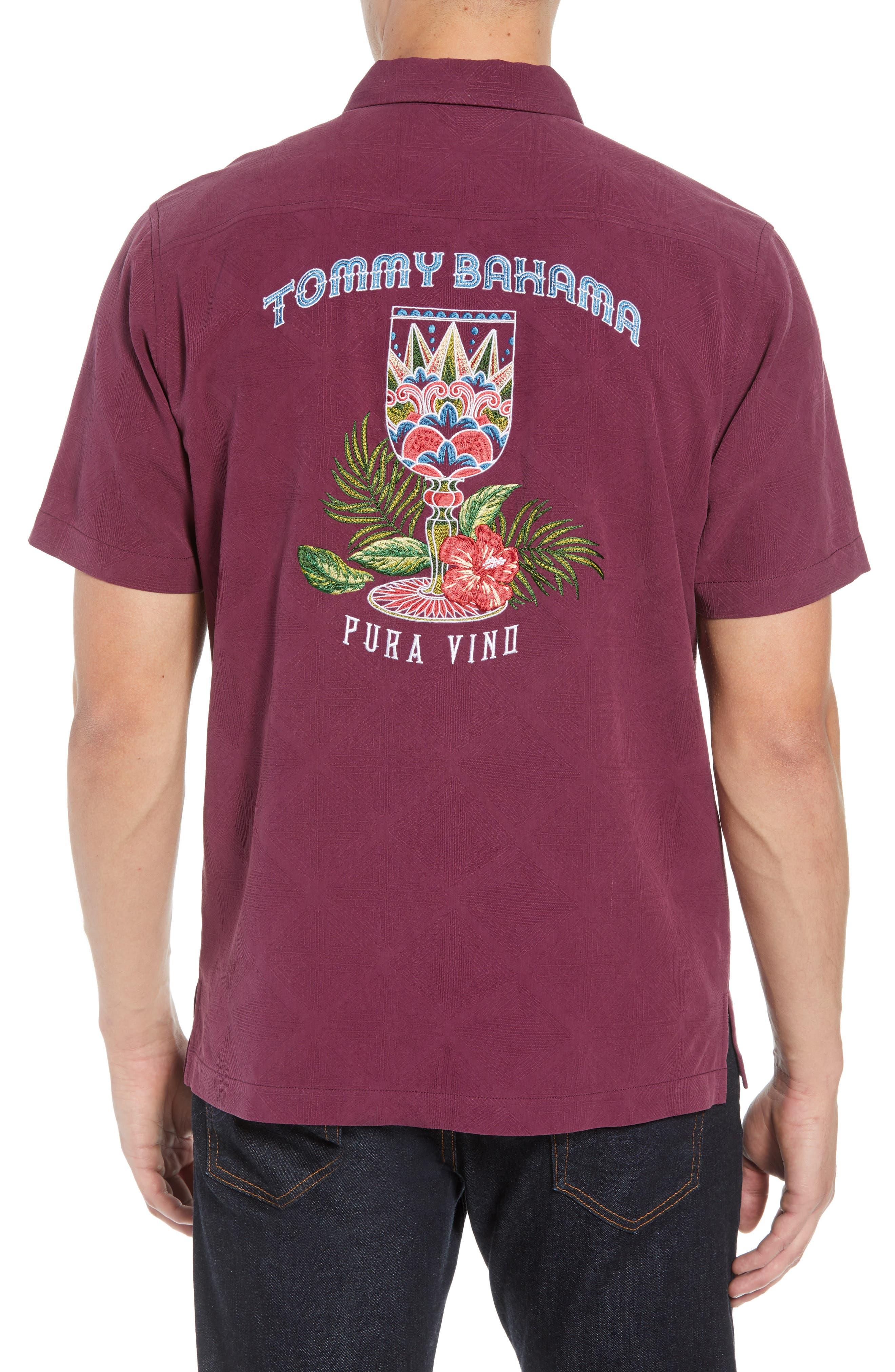 Pura Vino Embroidered Silk Sport Shirt,                             Alternate thumbnail 2, color,                             GRAPE WINE