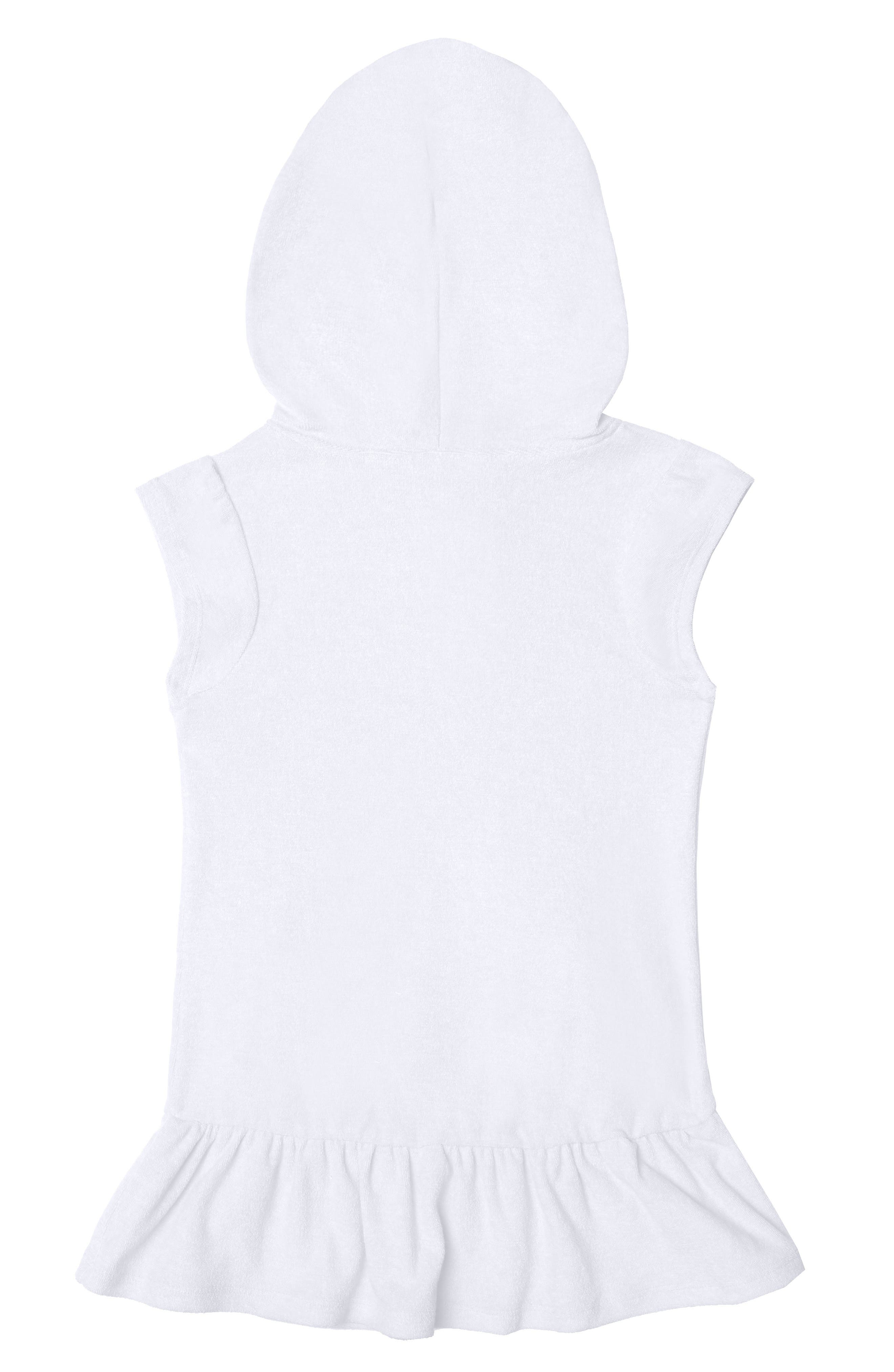 HULA STAR,                             Cotton Cloud Hooded Cover-Up Dress,                             Alternate thumbnail 2, color,                             WHITE