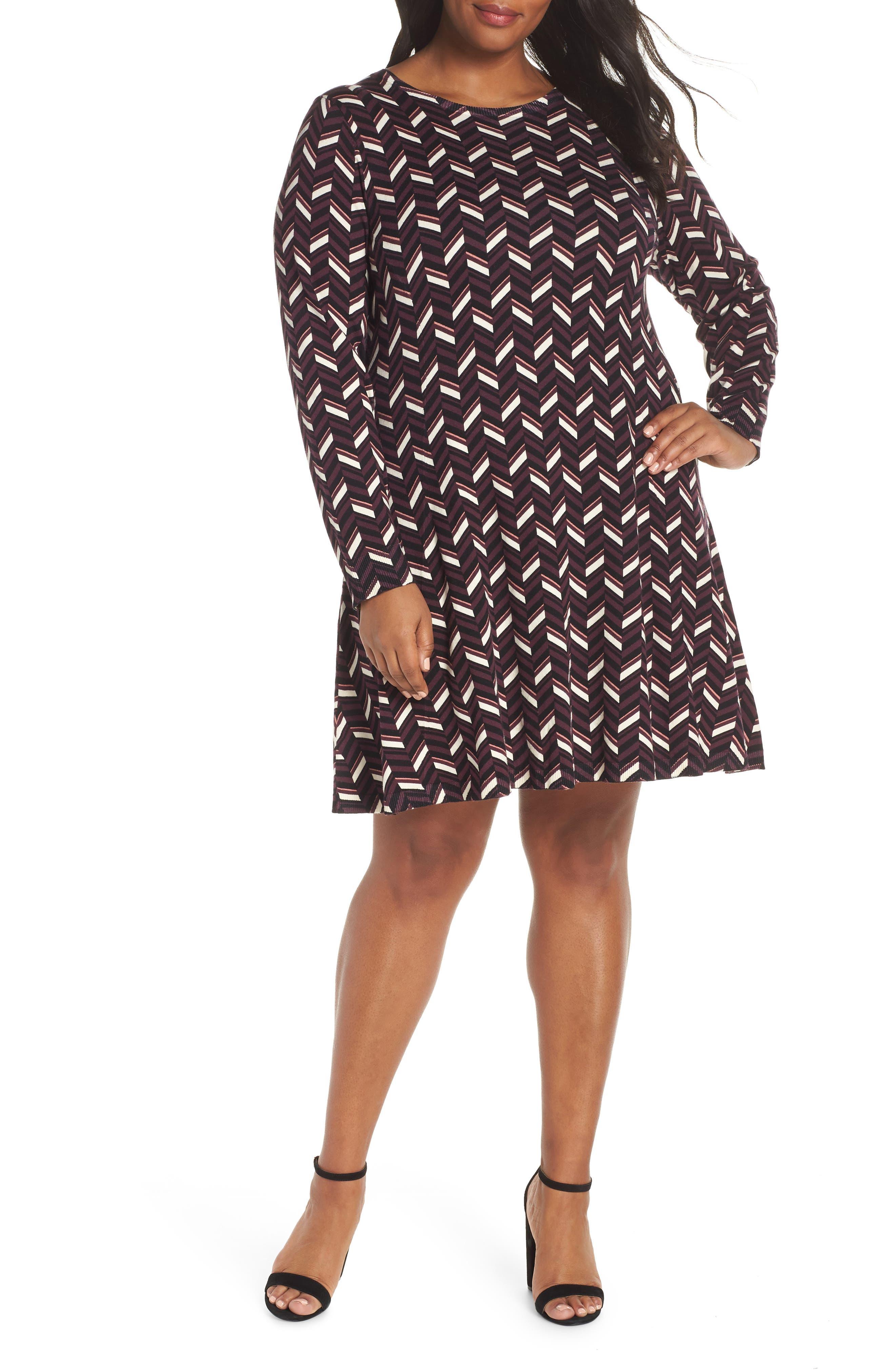 Plus Size Michael Michael Kors Chevron Sweater Dress, Red