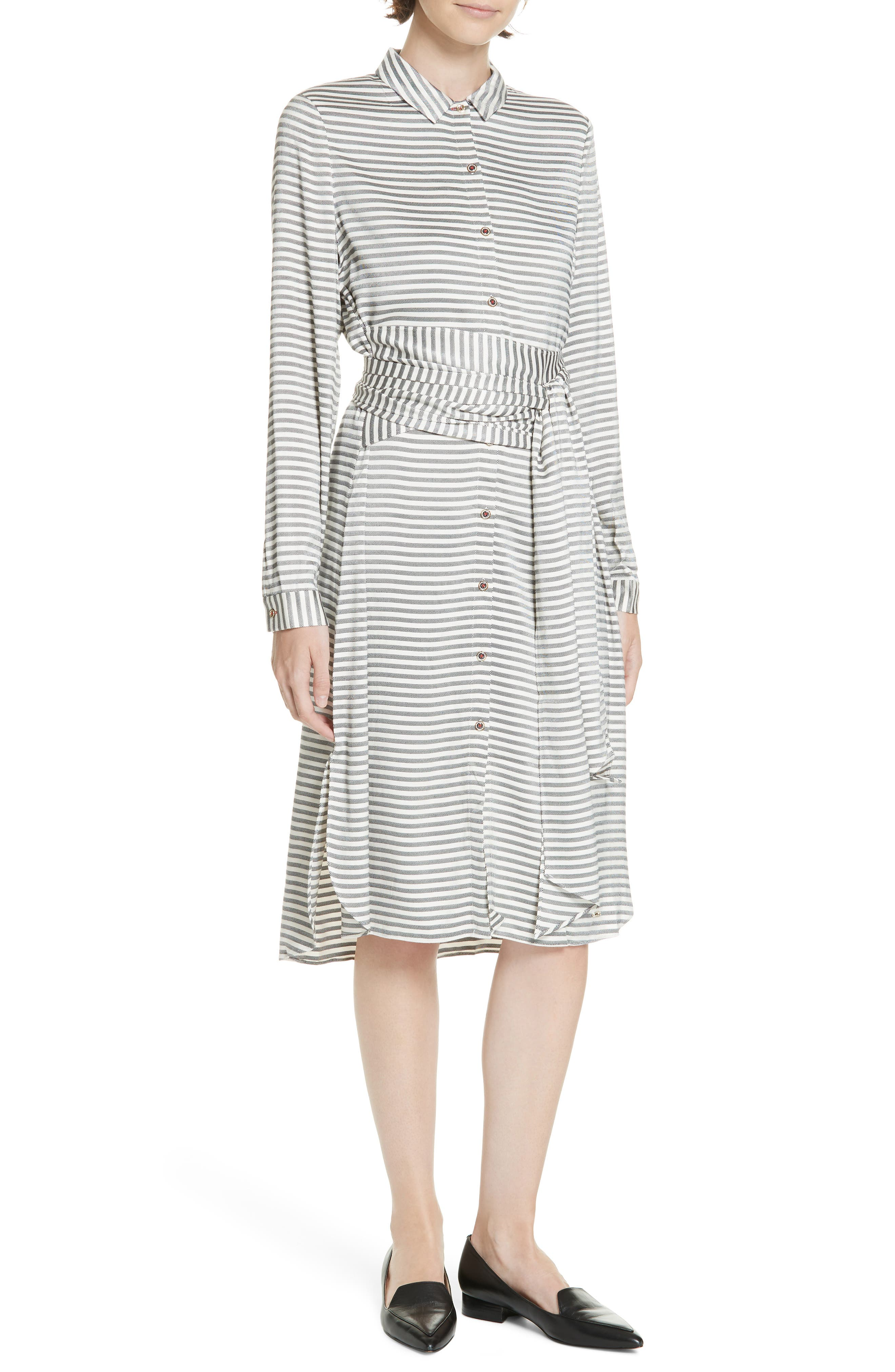 Colour by Numbers Sandre Stripe Shirtdress, Main, color, 905