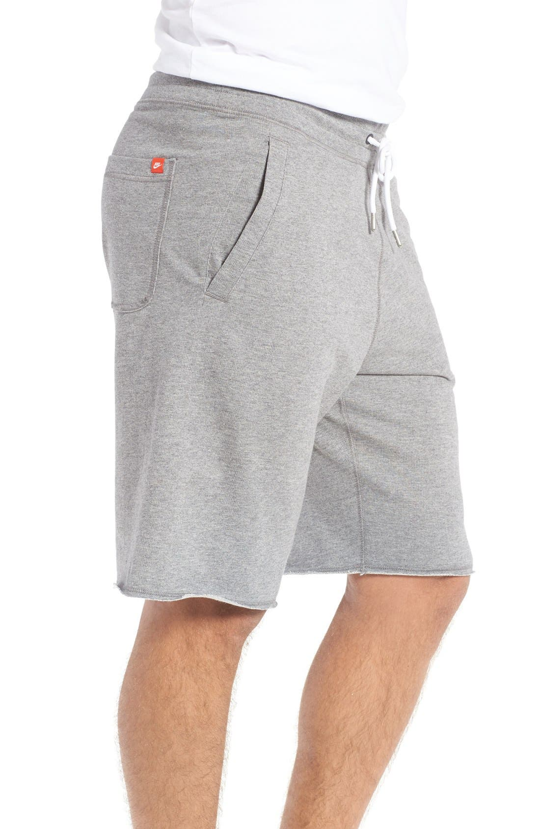 'NSW' Logo French Terry Shorts,                             Alternate thumbnail 4, color,                             CARBON HEATHER/ WHITE