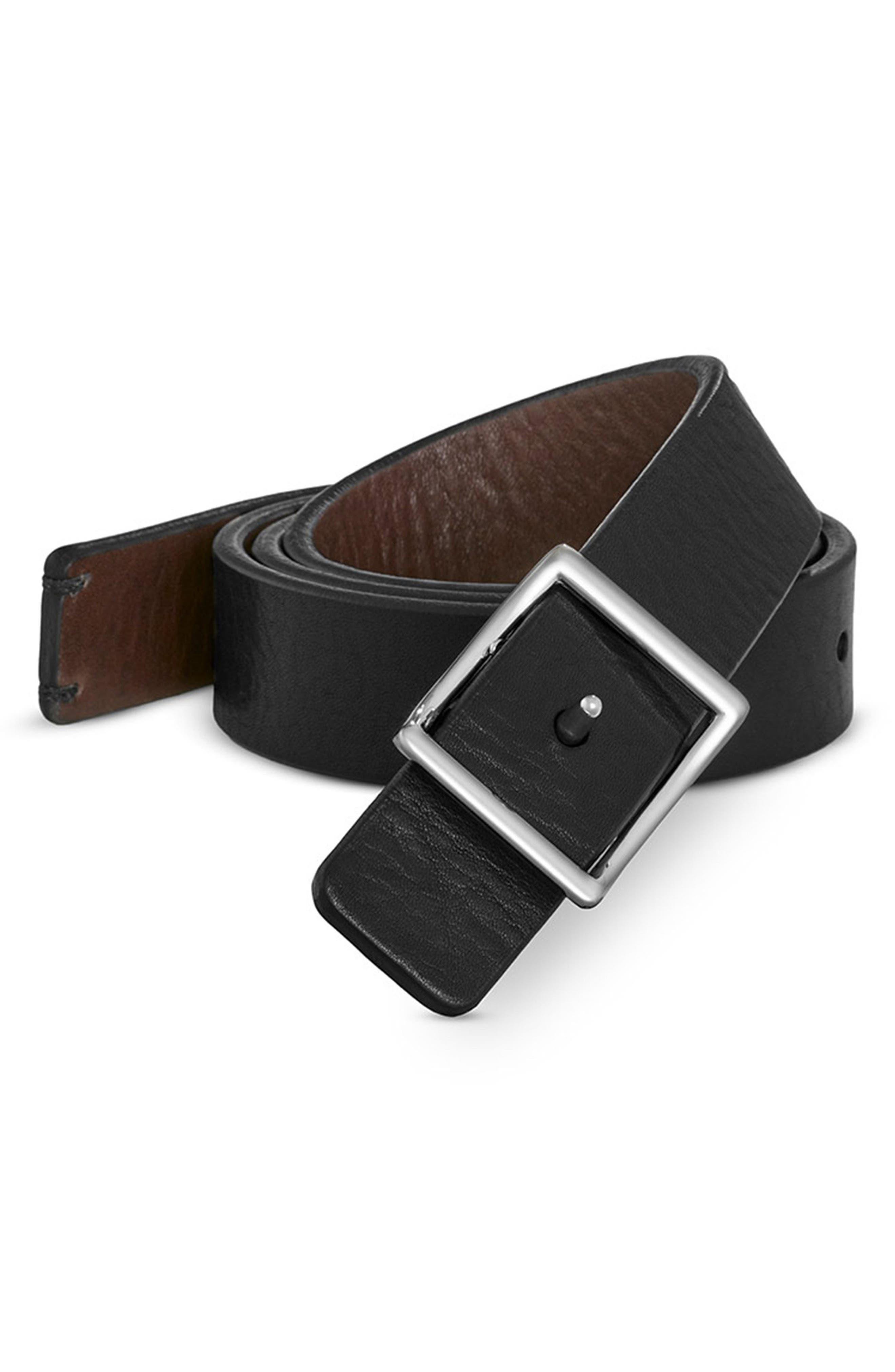 Reversible Leather Belt,                             Alternate thumbnail 3, color,                             002