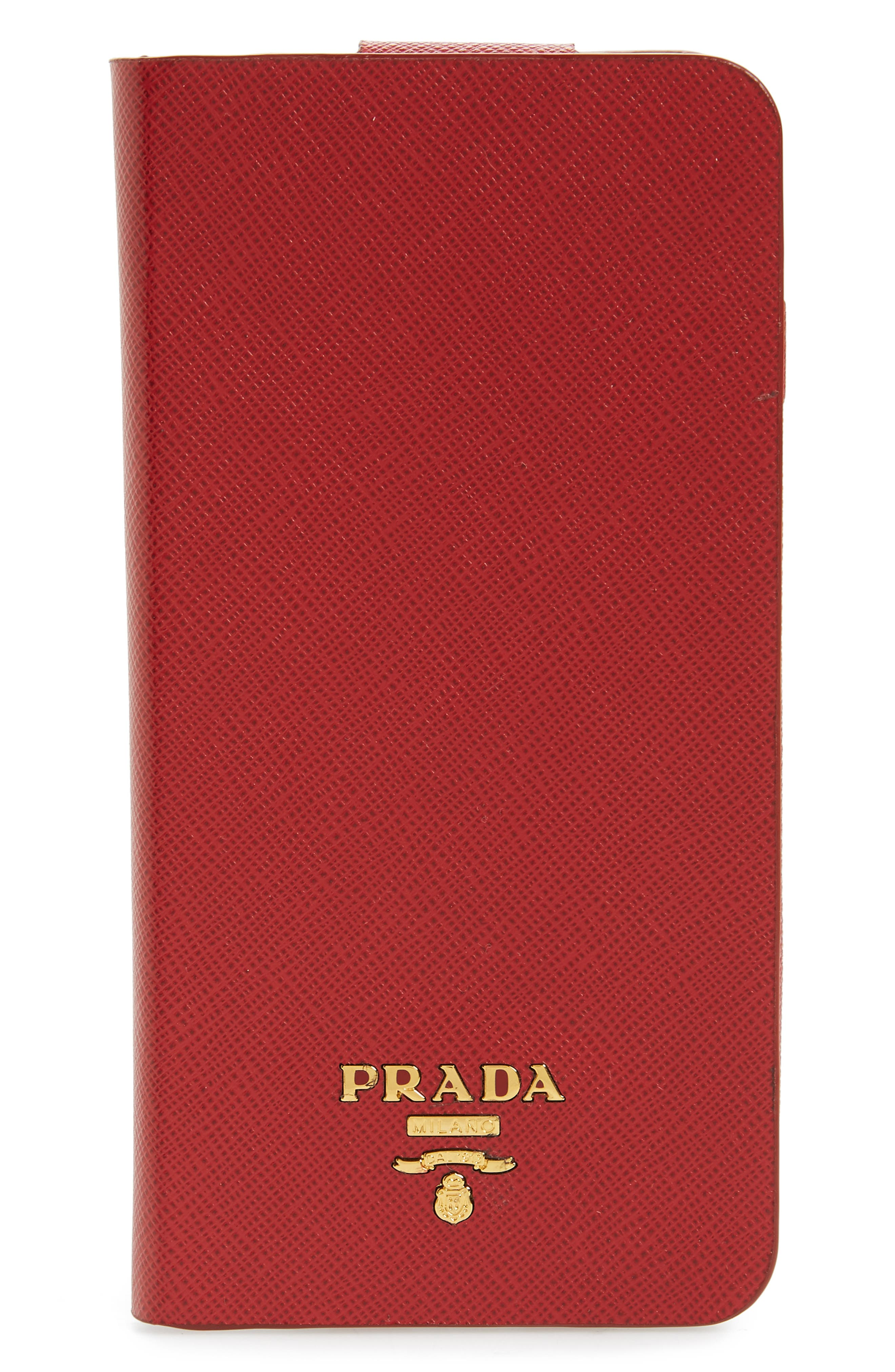 Saffiano Metal Oro Book iPhone 7 Plus Wallet,                         Main,                         color, FUOCO