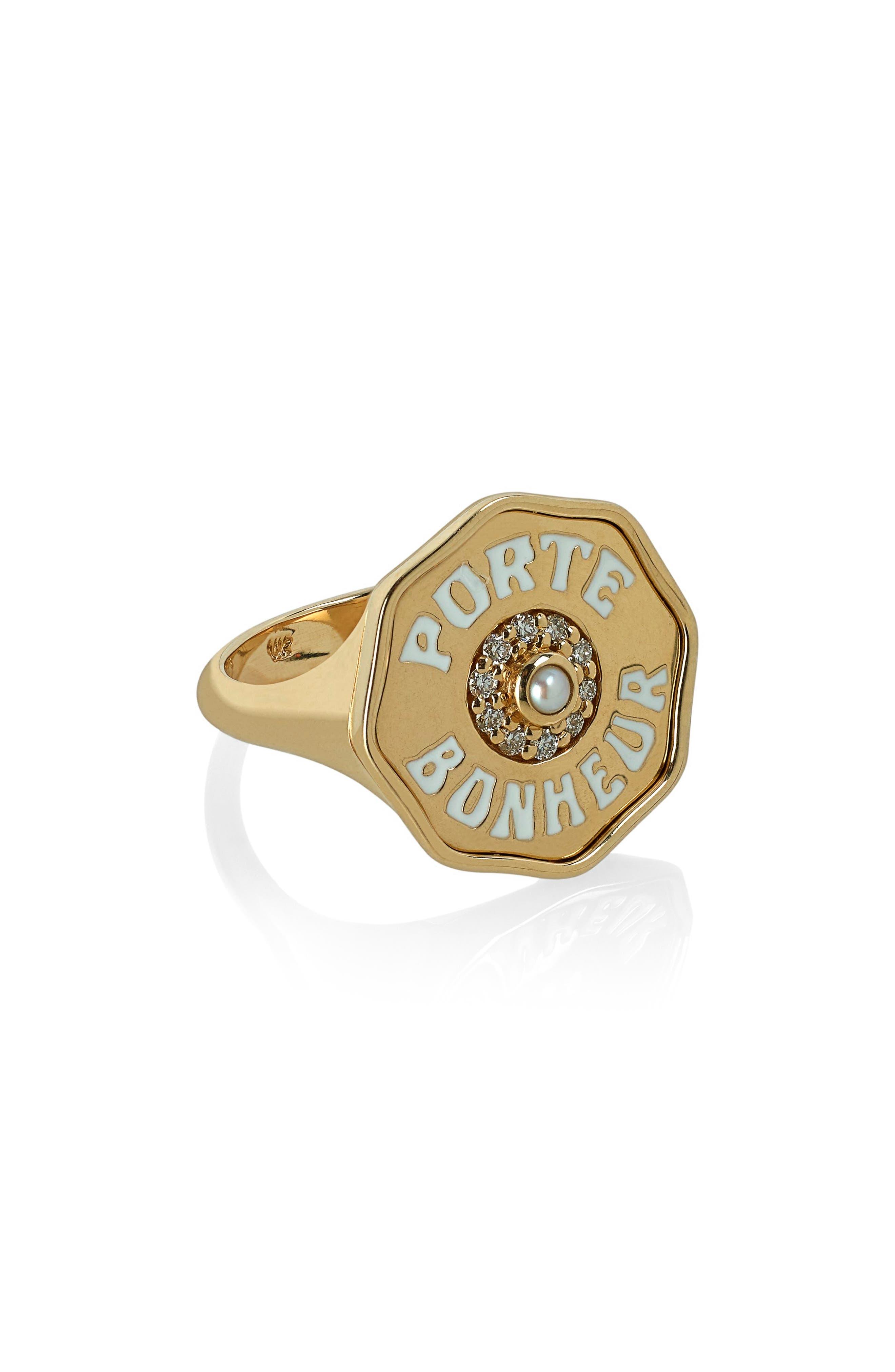 Porte Bonhuer Coin Ring,                             Main thumbnail 1, color,                             YELLOW GOLD