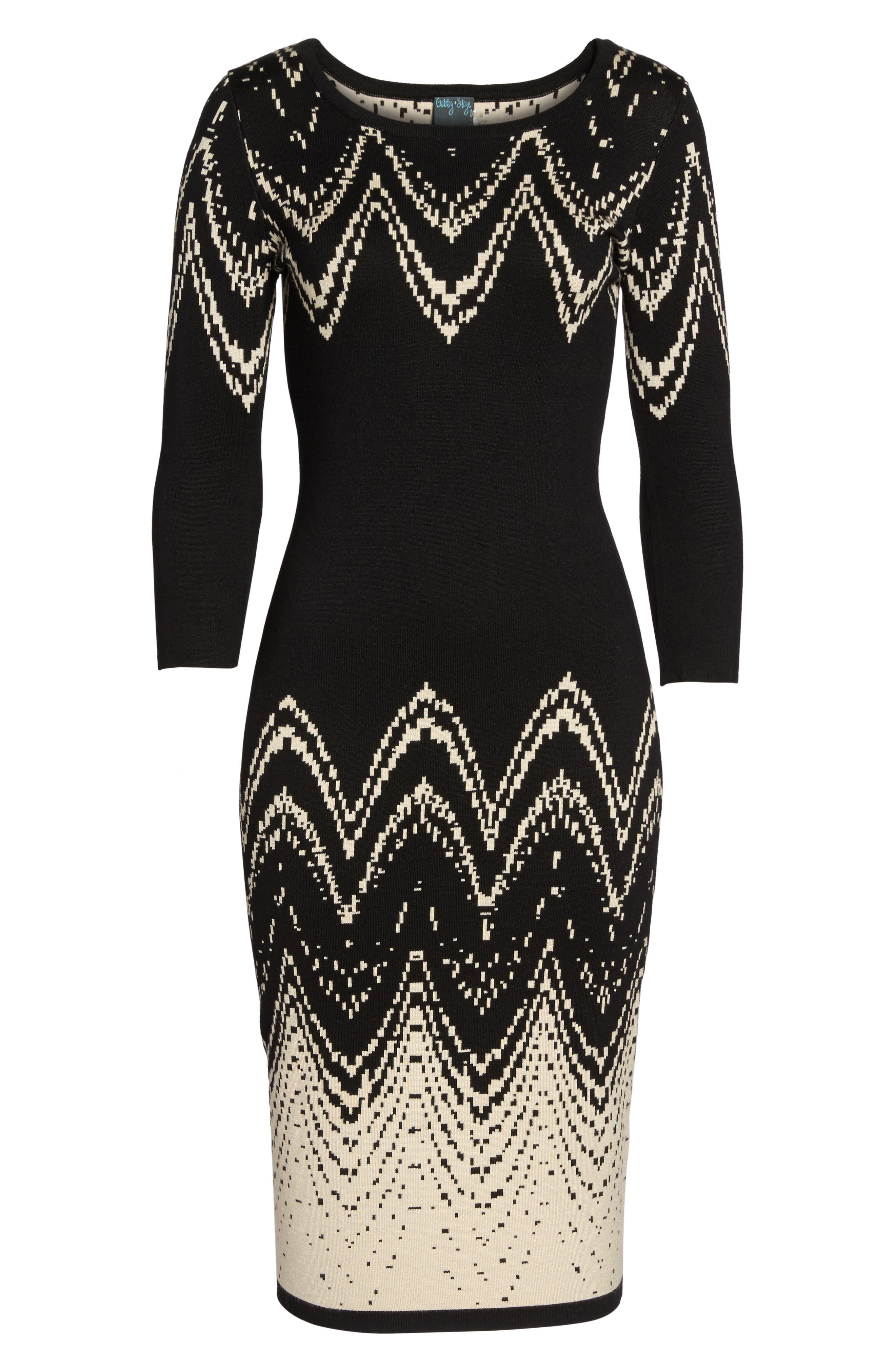 Print Sweater Dress,                             Alternate thumbnail 6, color,                             001