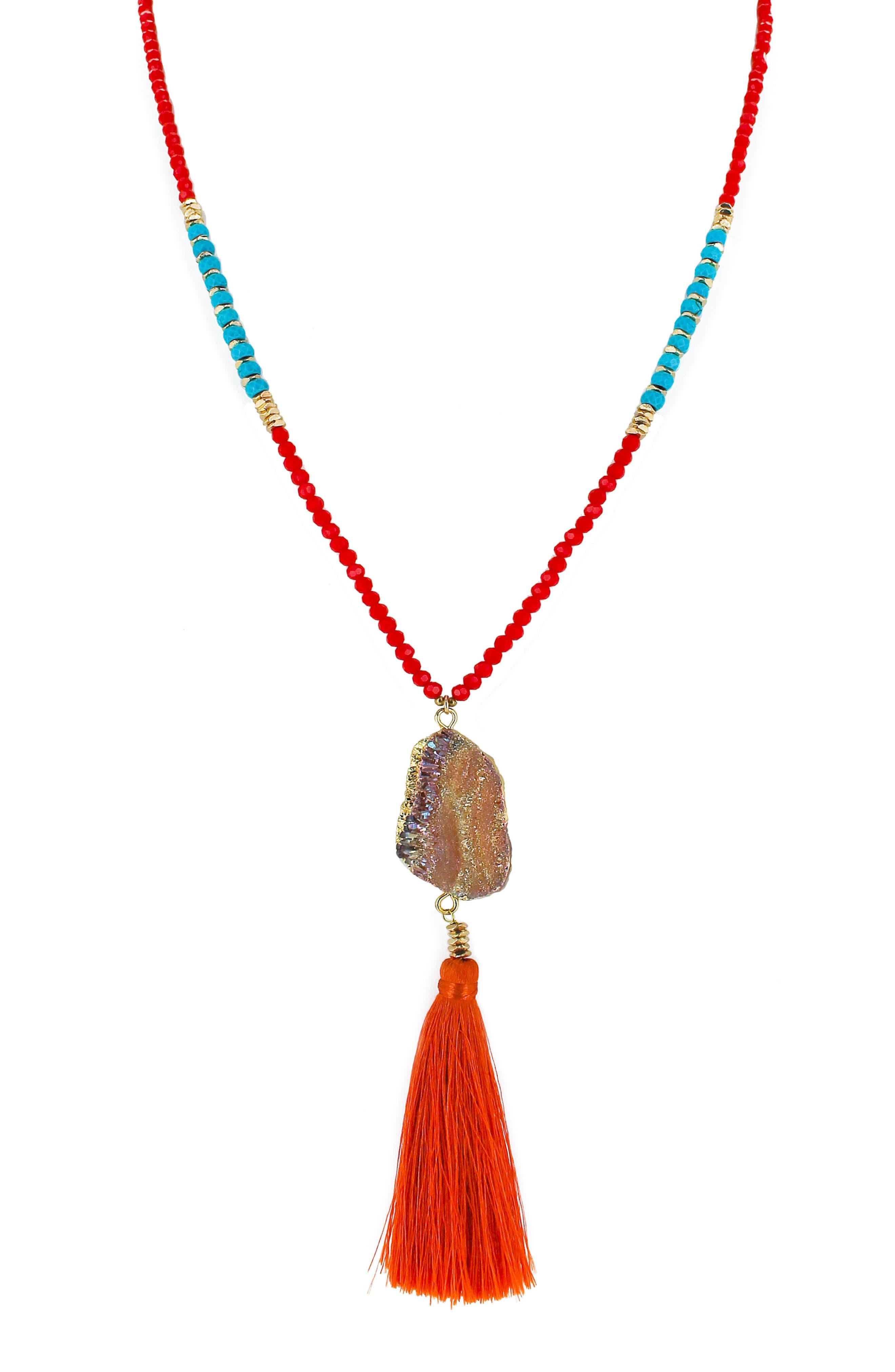 Drusy & Tassel Pendant Necklace,                             Main thumbnail 1, color,
