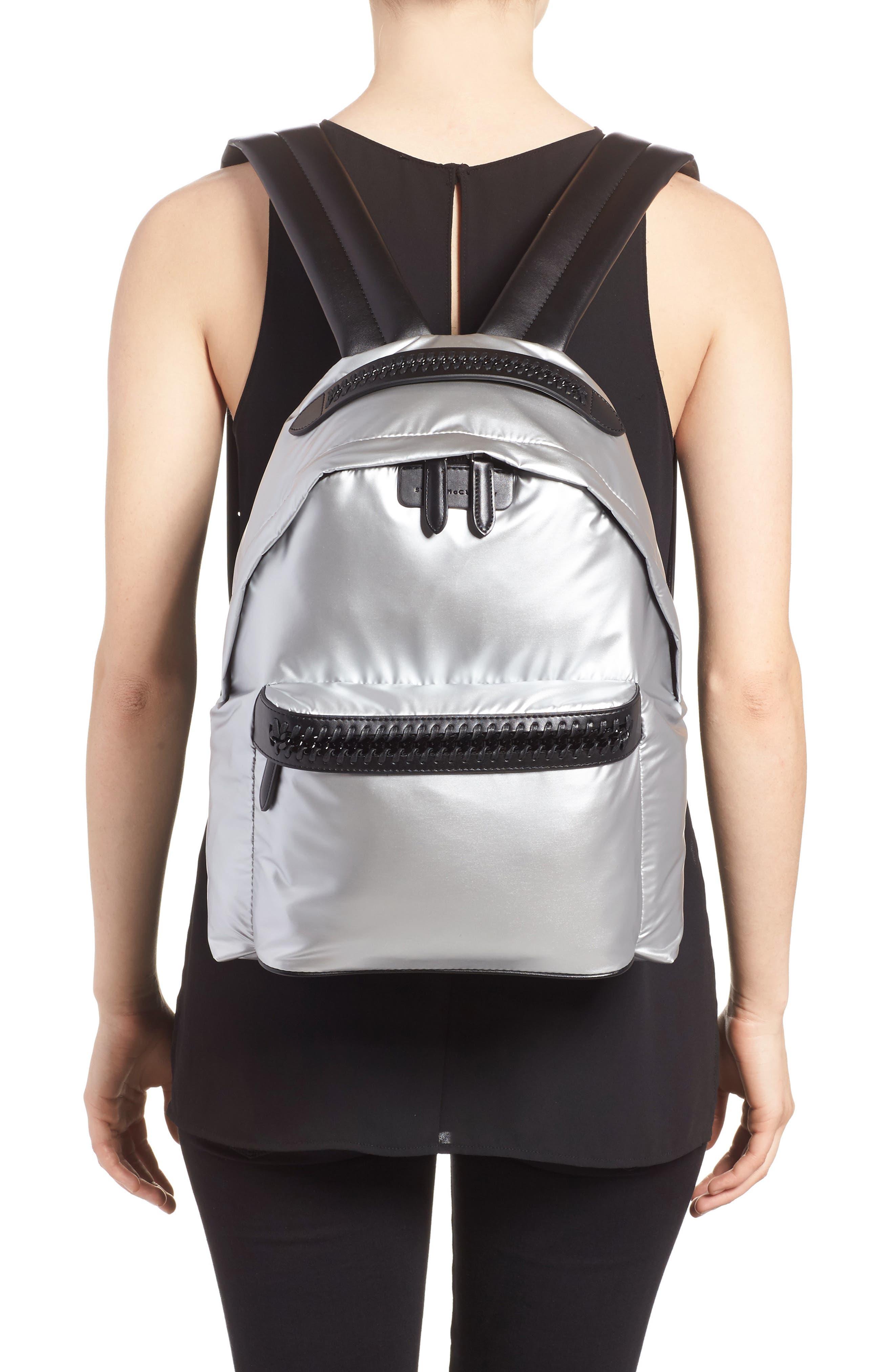 Falabella Metallic Nylon Backpack,                             Alternate thumbnail 2, color,                             045