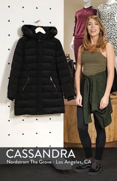 Celeste Genuine Shearling Trim Down Coat, sales video thumbnail