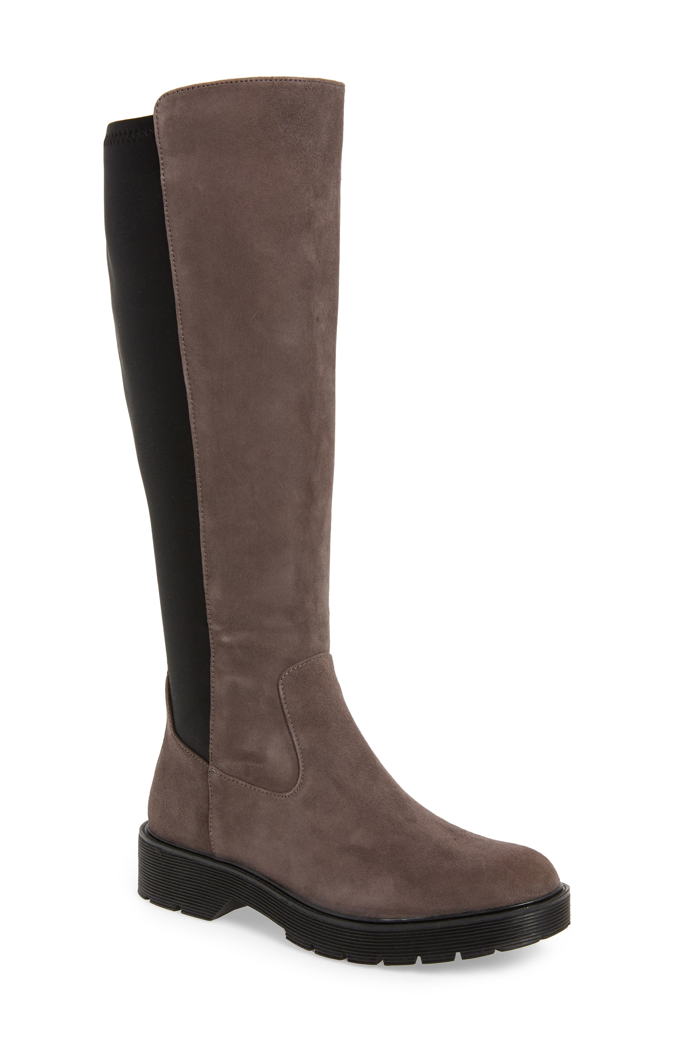 Themis Knee High Riding Boot,                             Main thumbnail 1, color,                             DARK UTILITY/ BLACK SUEDE