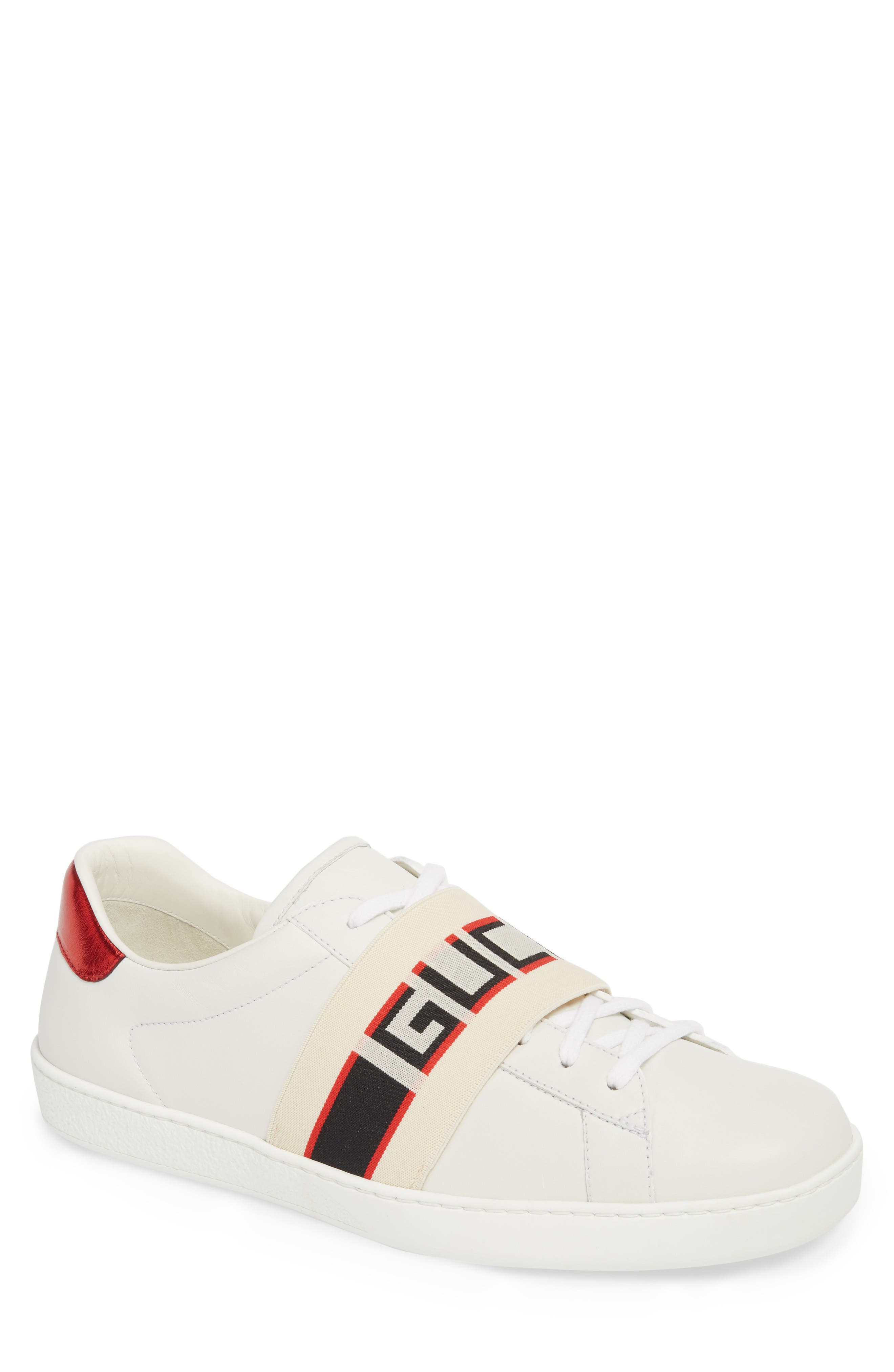 New Ace Stripe Leather Sneaker,                         Main,                         color, BIANCO/ WHITE FLAME