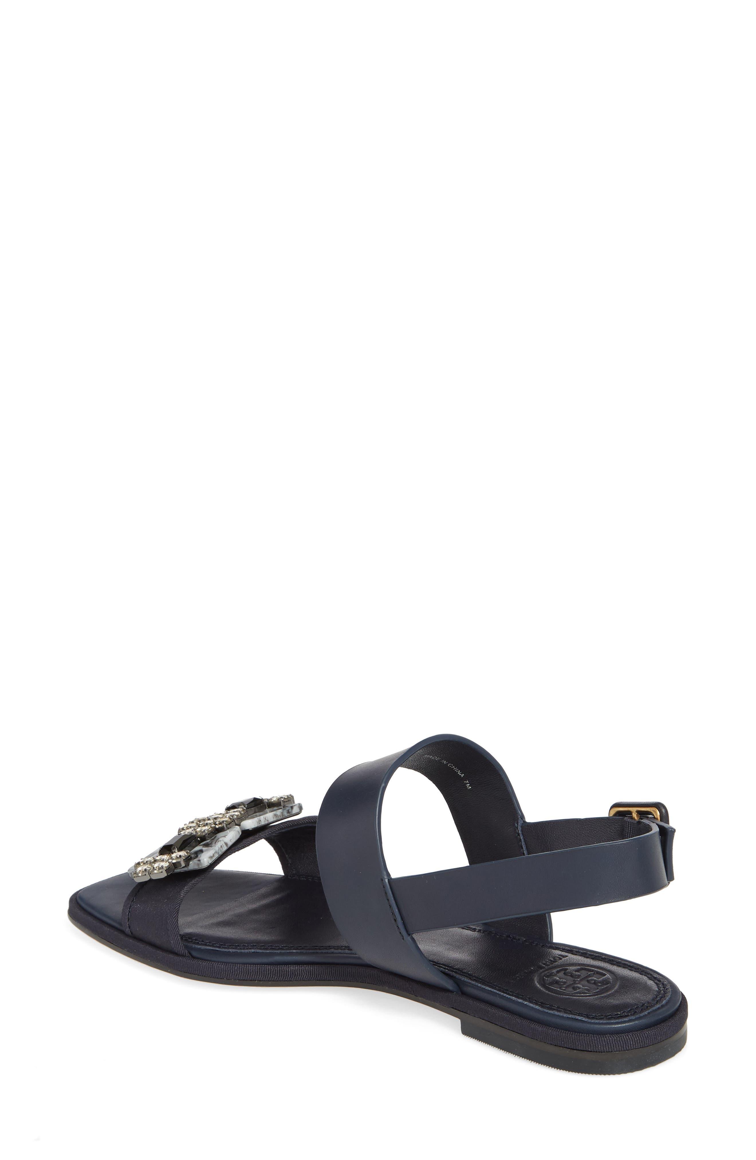 Delaney Embellished Double Strap Sandal,                             Alternate thumbnail 4, color,