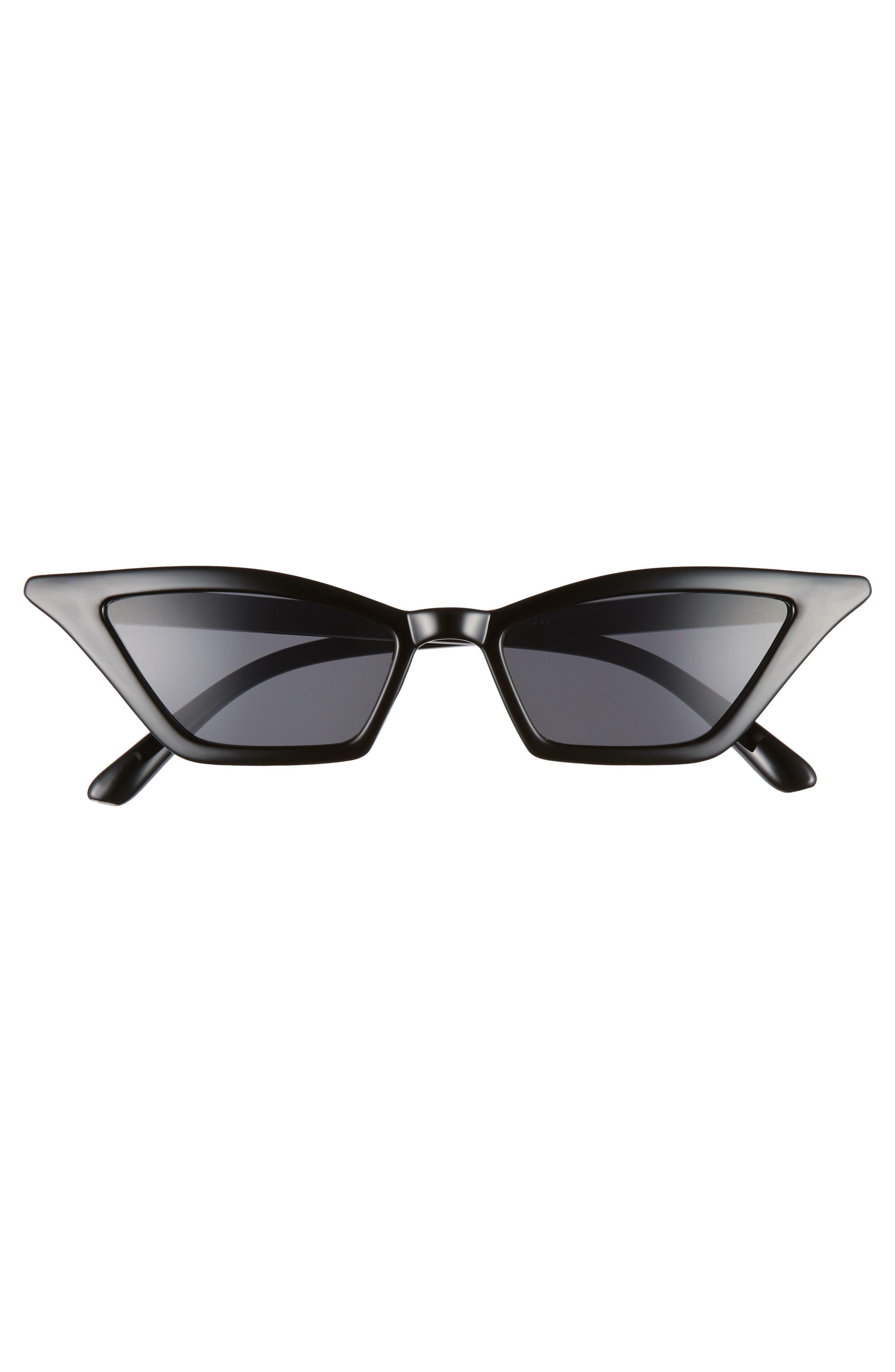 54mm Geometric Sunglasses,                             Alternate thumbnail 3, color,                             BLACK/ BLACK