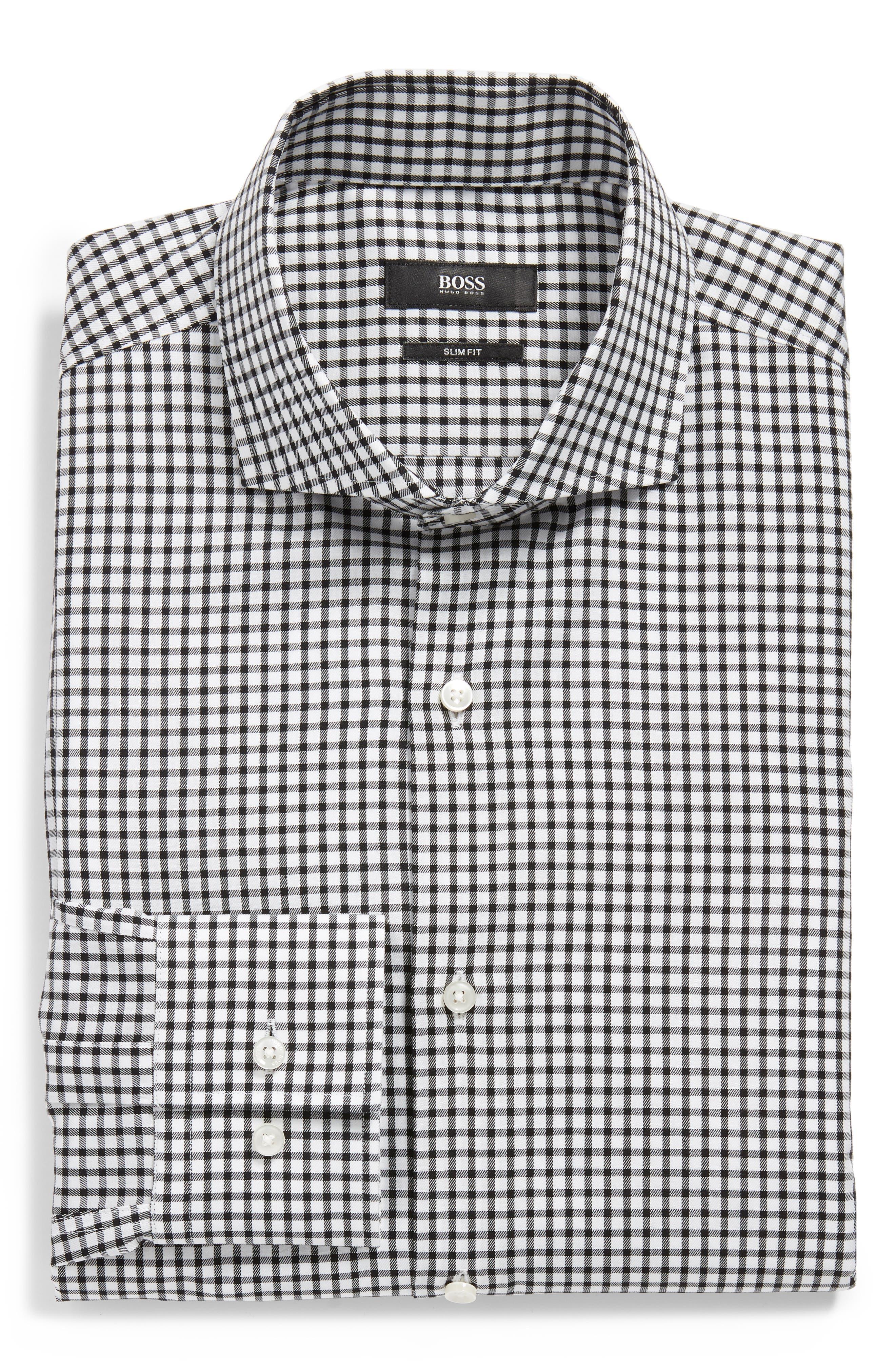 Jason Trim Fit Check Dress Shirt,                             Alternate thumbnail 5, color,                             002