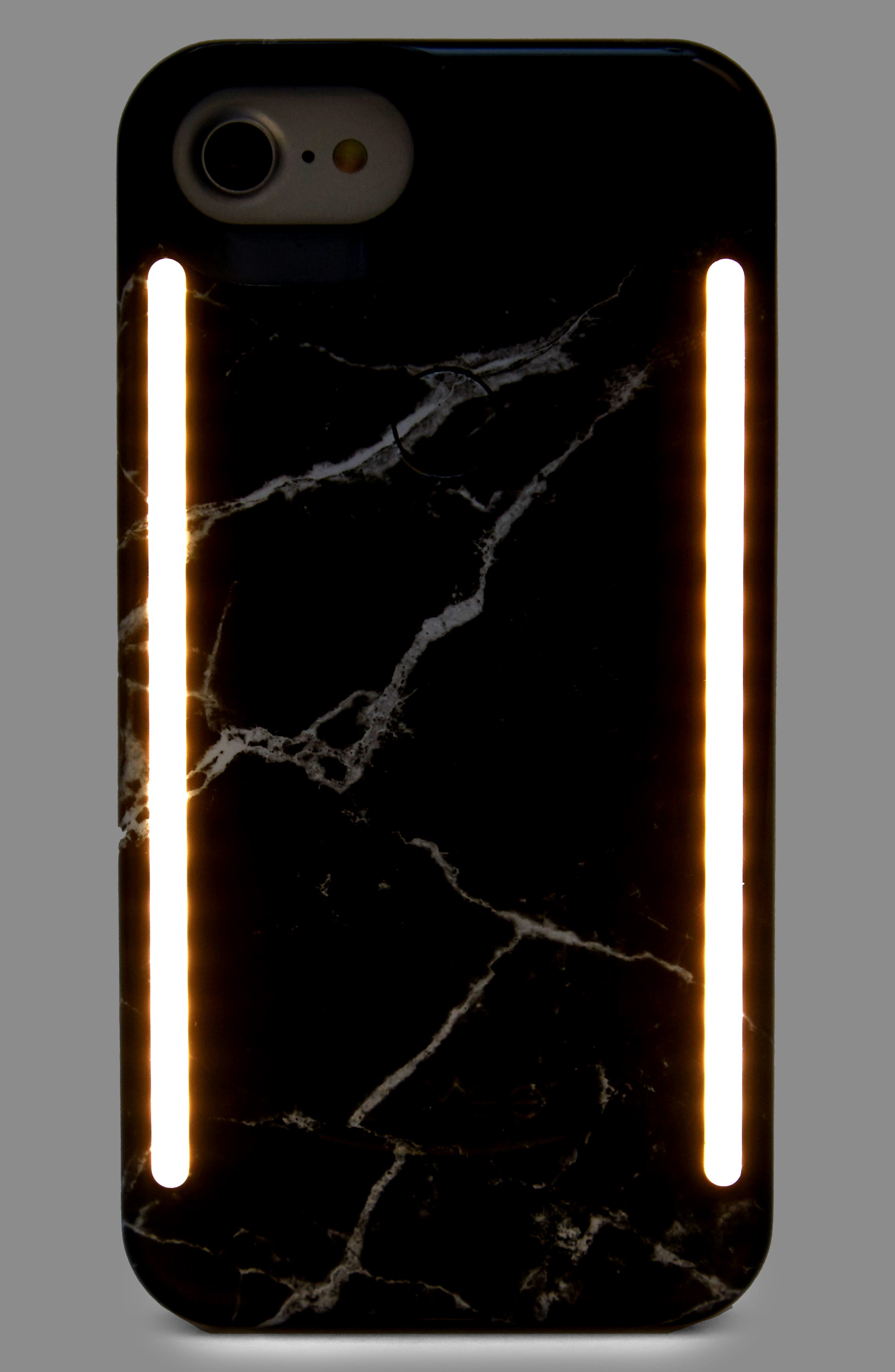 Duo Lighted iPhone 6/7/8 & 6/7/8 Plus Case,                             Alternate thumbnail 4, color,                             BLACK MARBLE