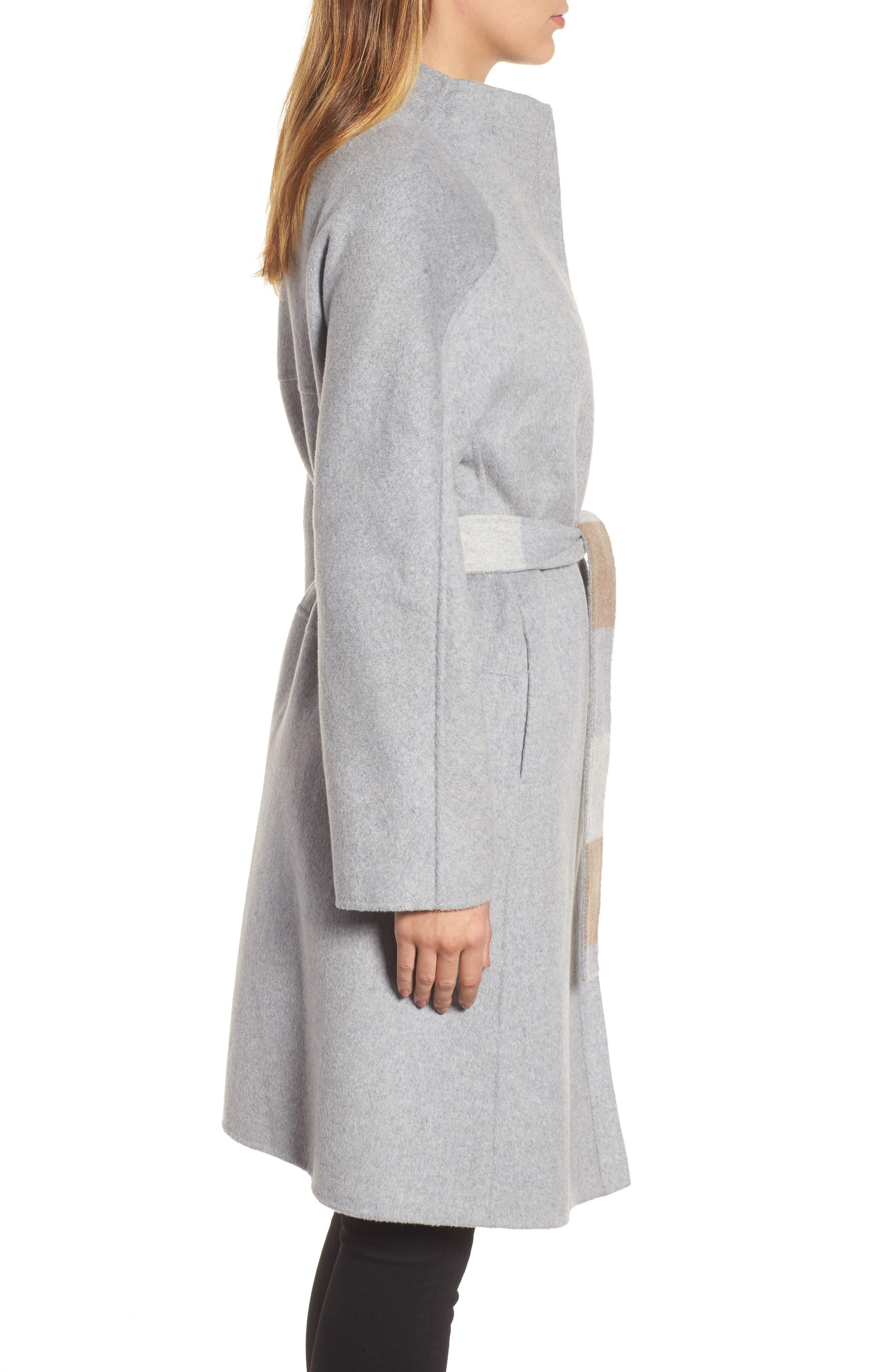 DKNY Wool Blend Wrap Coat,                             Alternate thumbnail 3, color,