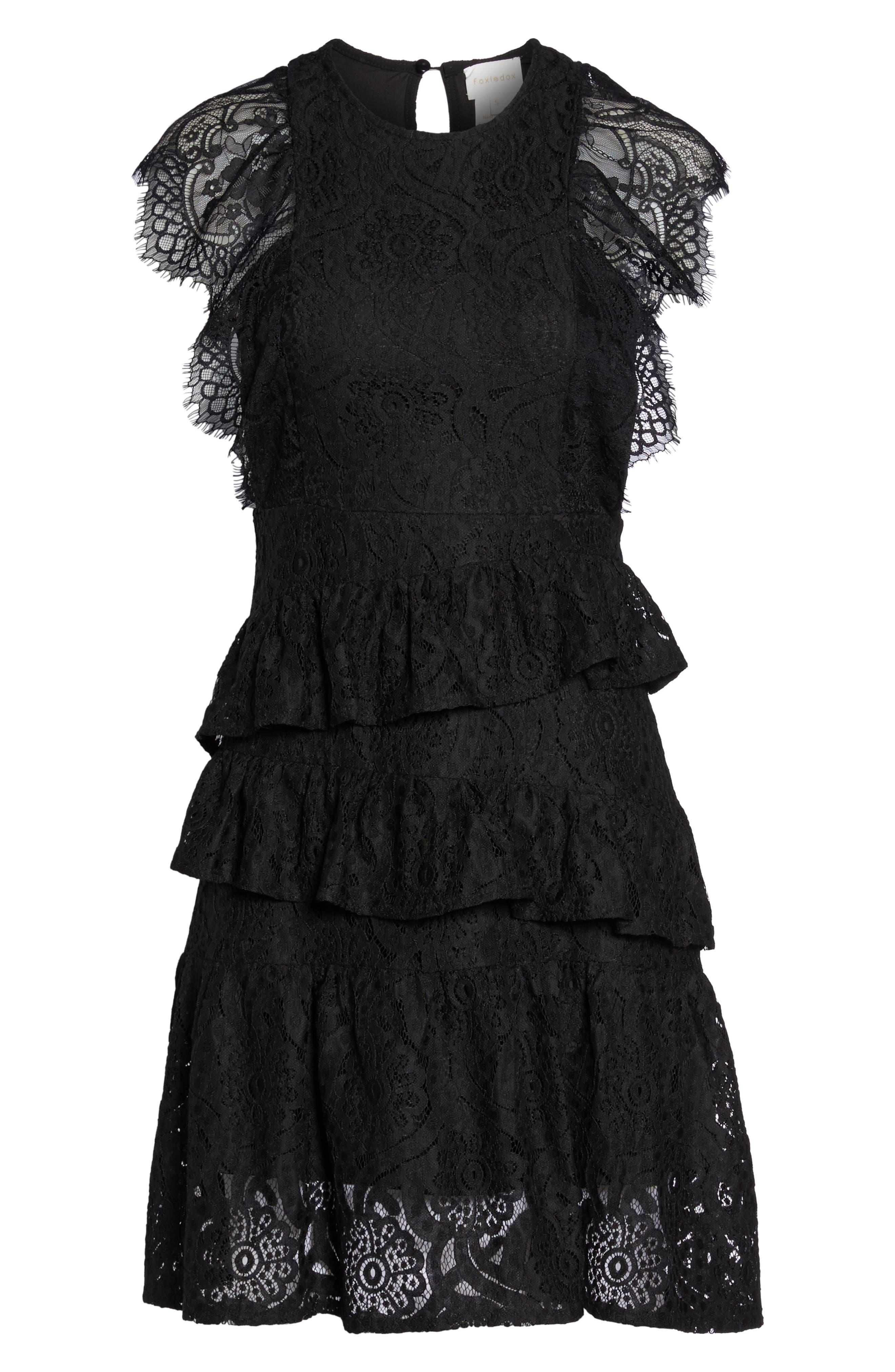 Ruffle Lace High/Low dress,                             Alternate thumbnail 7, color,                             BLACK