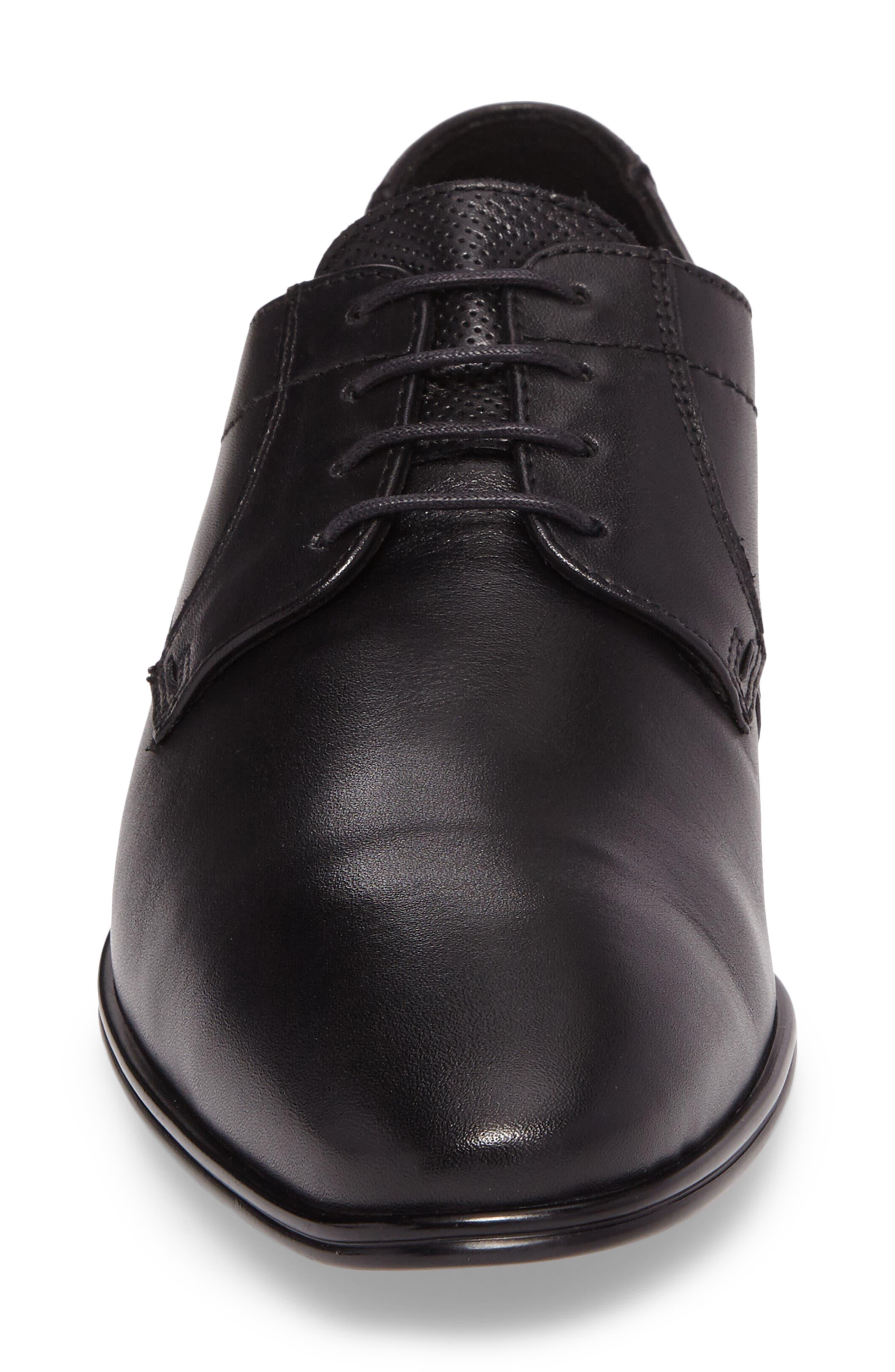 Osmond Plain Toe Derby,                             Alternate thumbnail 4, color,                             BLACK LEATHER
