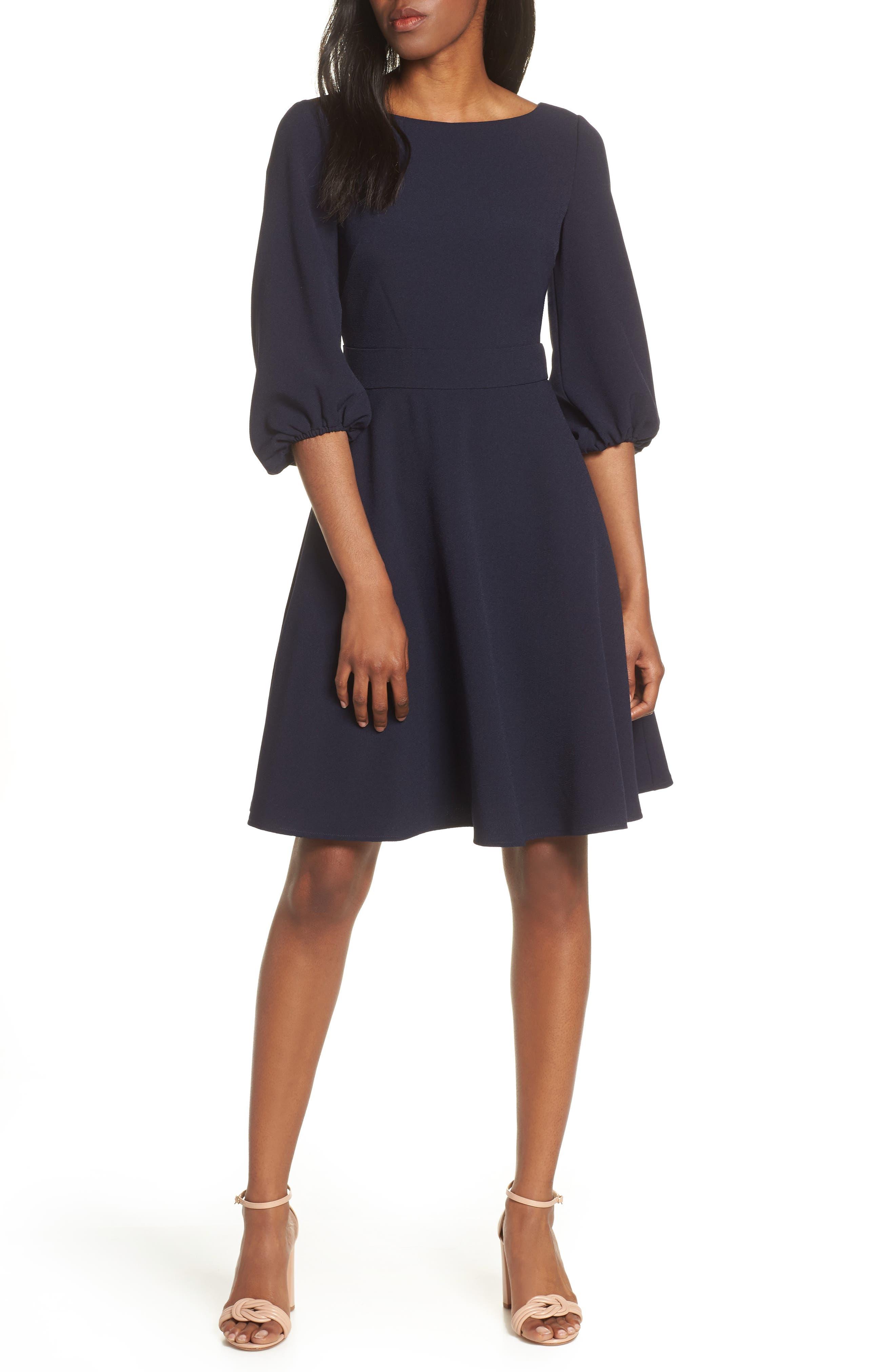 Eliza J Balloon Sleeve Fit & Flare Dress, Blue