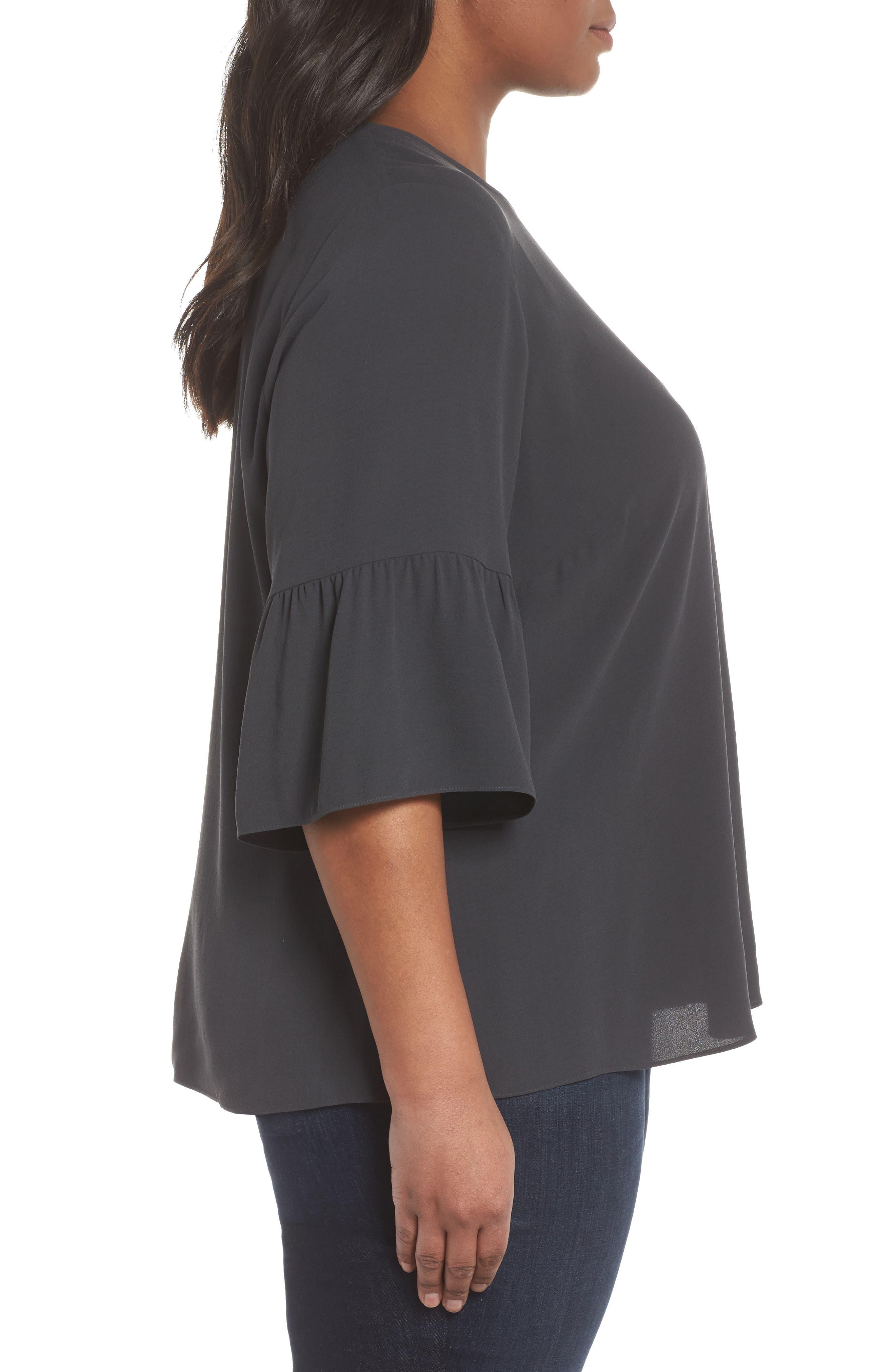 Ruffled Sleeve Silk Top,                             Alternate thumbnail 3, color,                             025