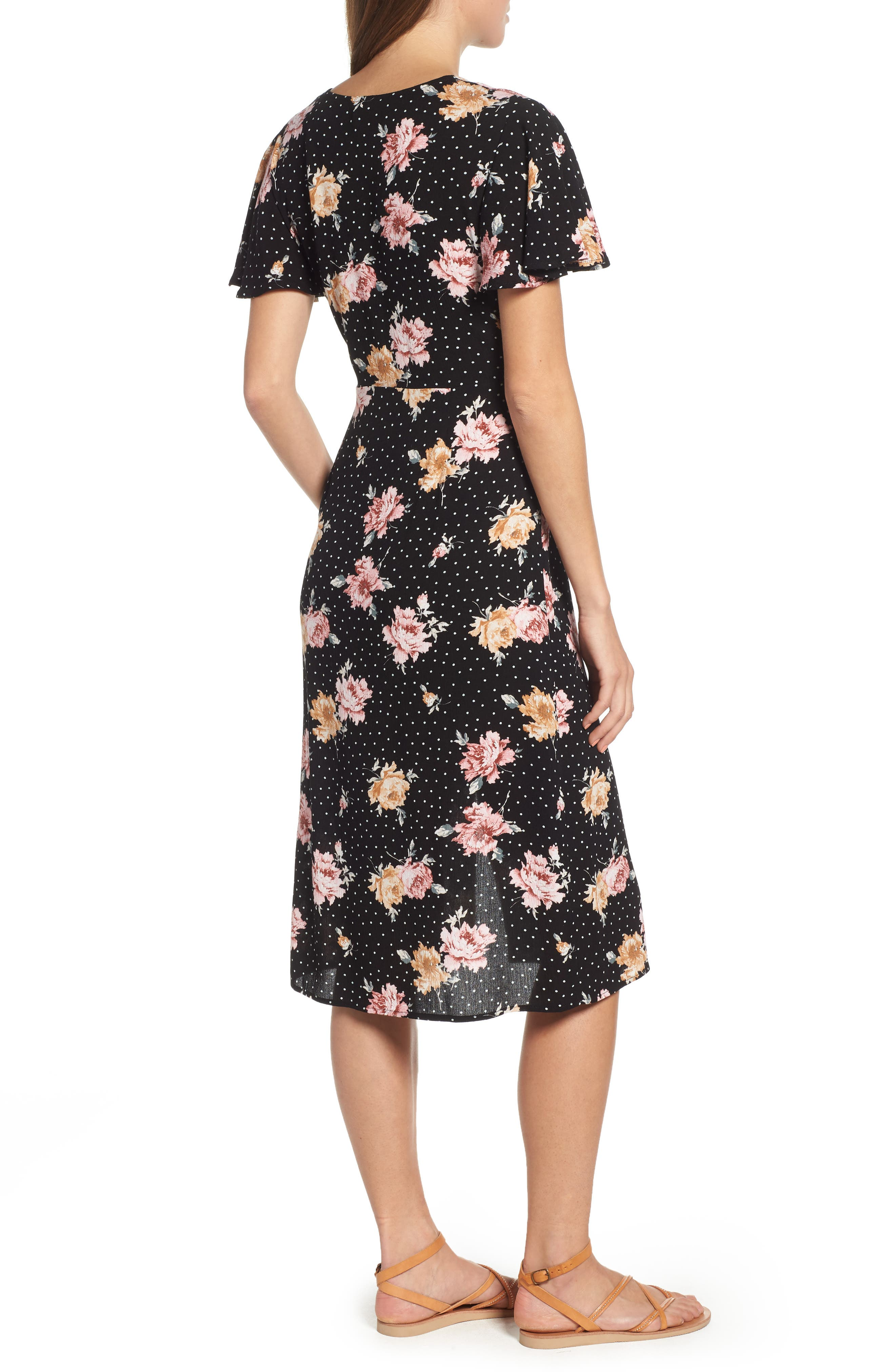 Print Tie Front Dress,                             Alternate thumbnail 2, color,                             BLACK FLORAL