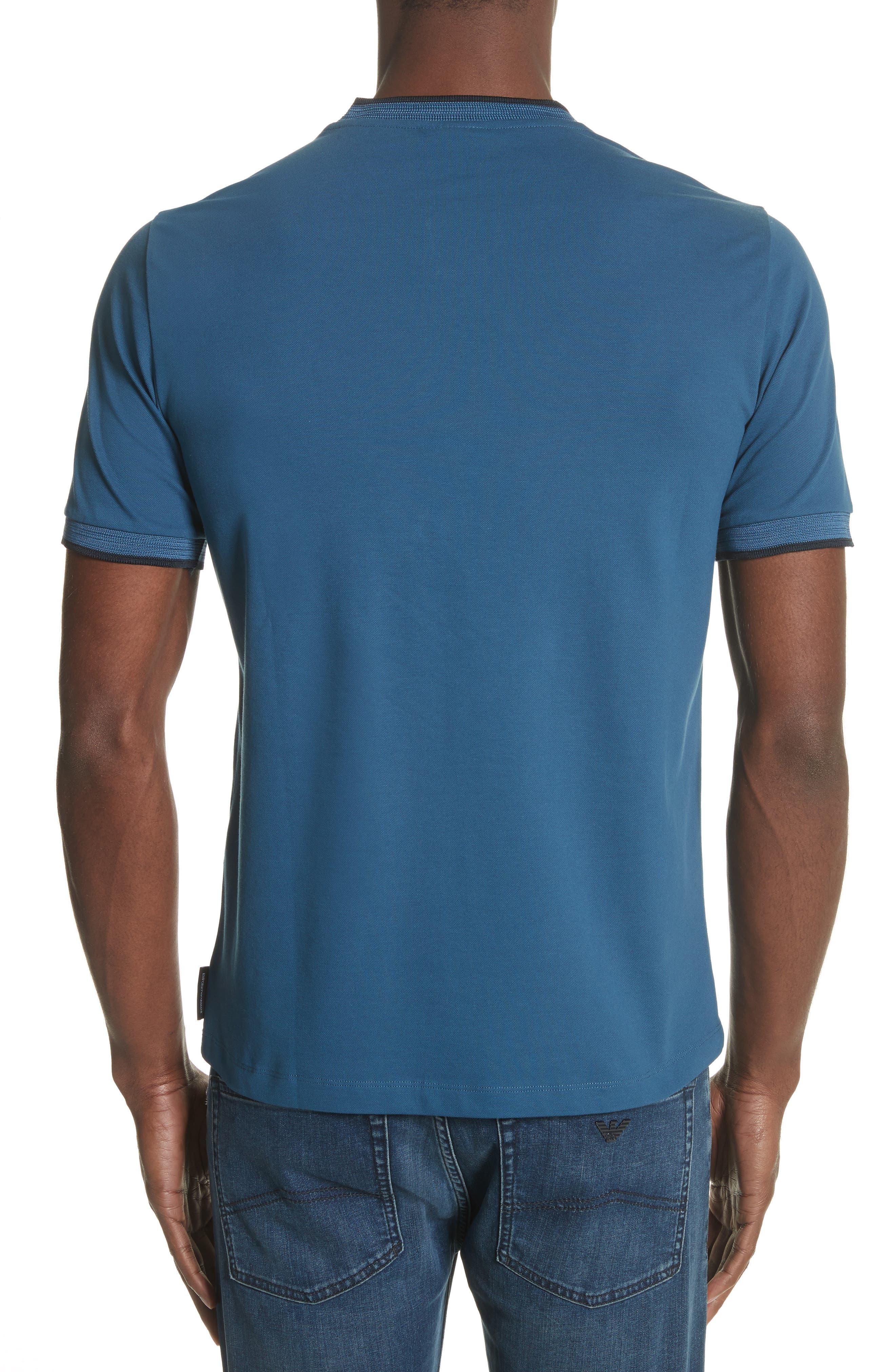 Slim Fit V-Neck Piqué T-Shirt,                             Alternate thumbnail 4, color,