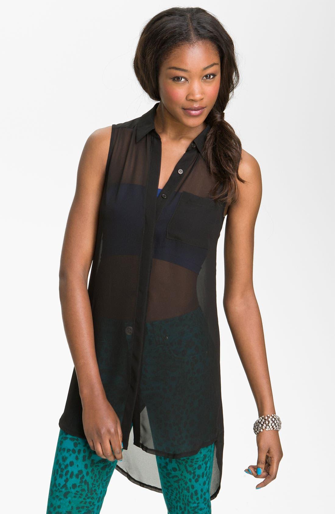 Sleeveless Shirt Tunic,                         Main,                         color, 001