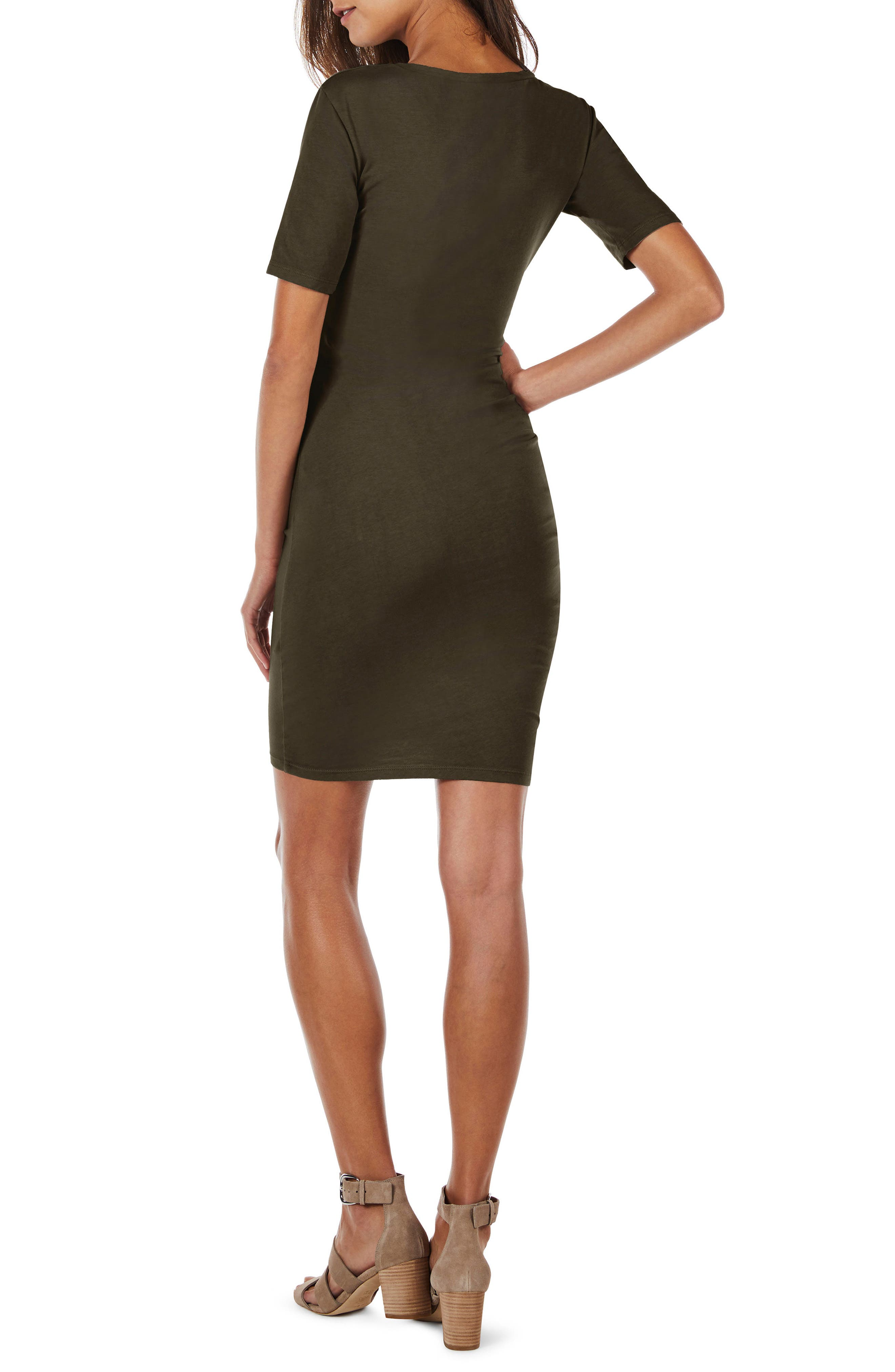 Ruched Body-Con Dress,                             Alternate thumbnail 6, color,