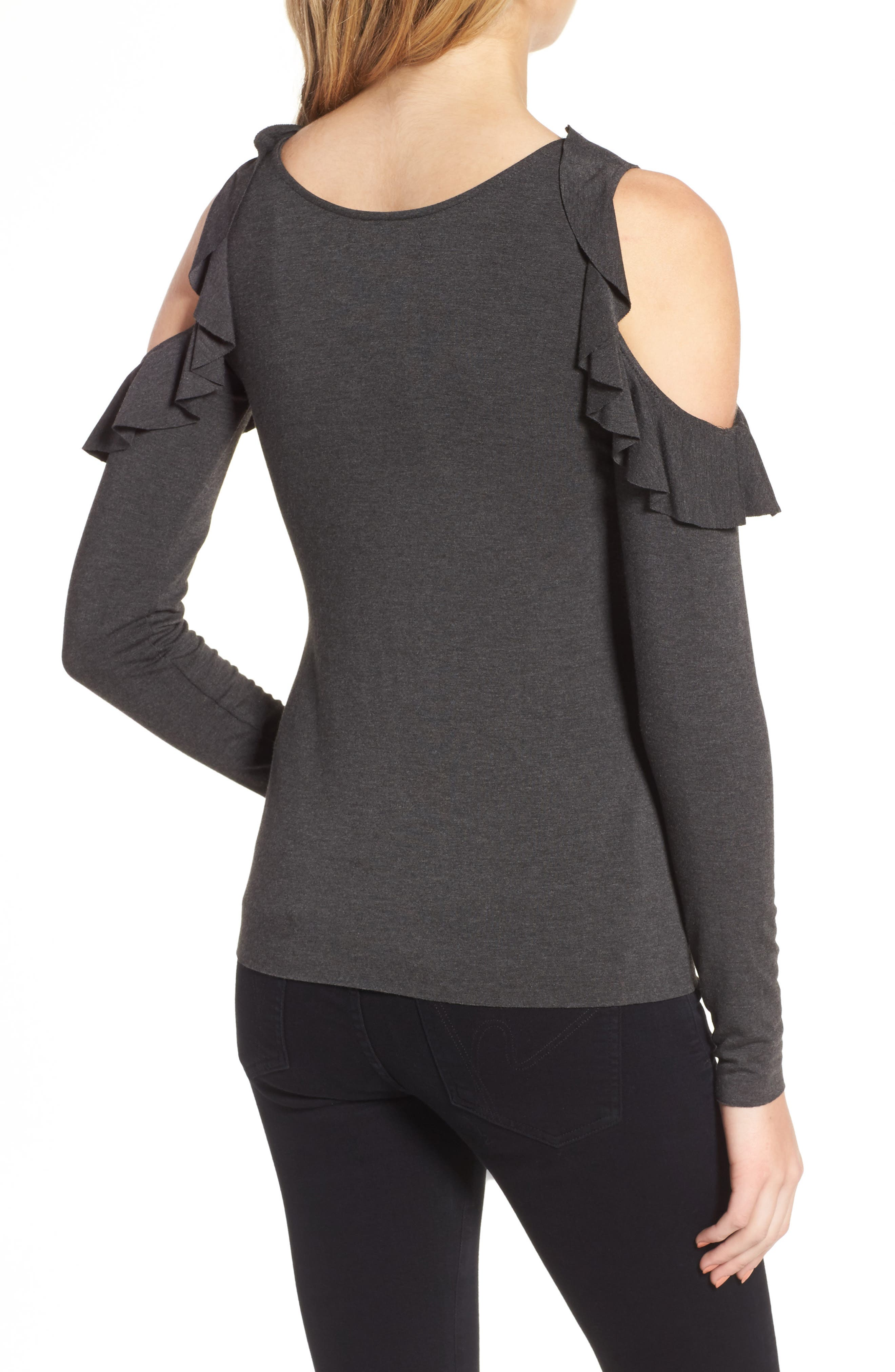 Ruffle Cold Shoulder Top,                             Alternate thumbnail 2, color,