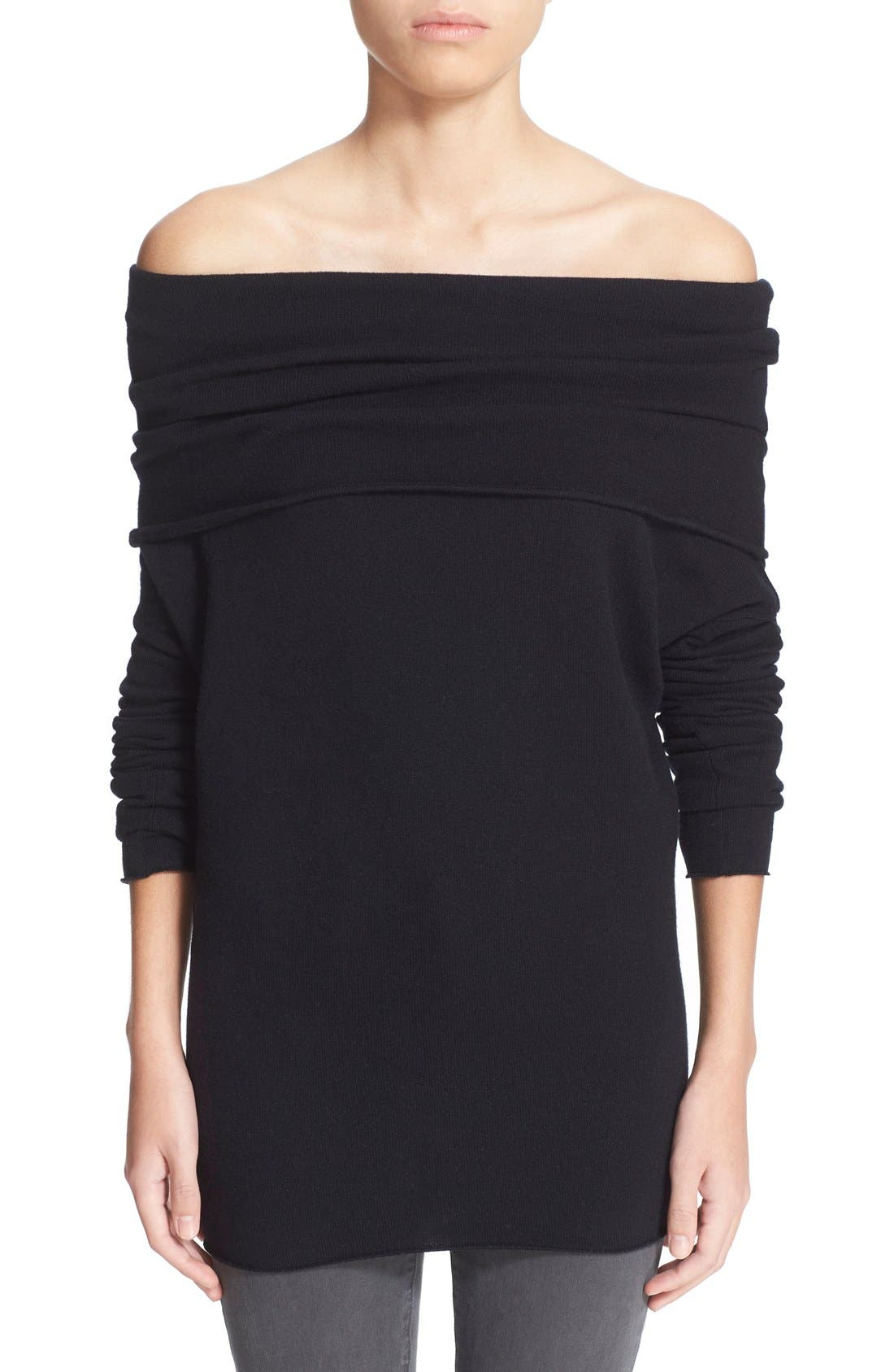VINCE,                             Cashmere Off the Shoulder Pullover,                             Main thumbnail 1, color,                             001