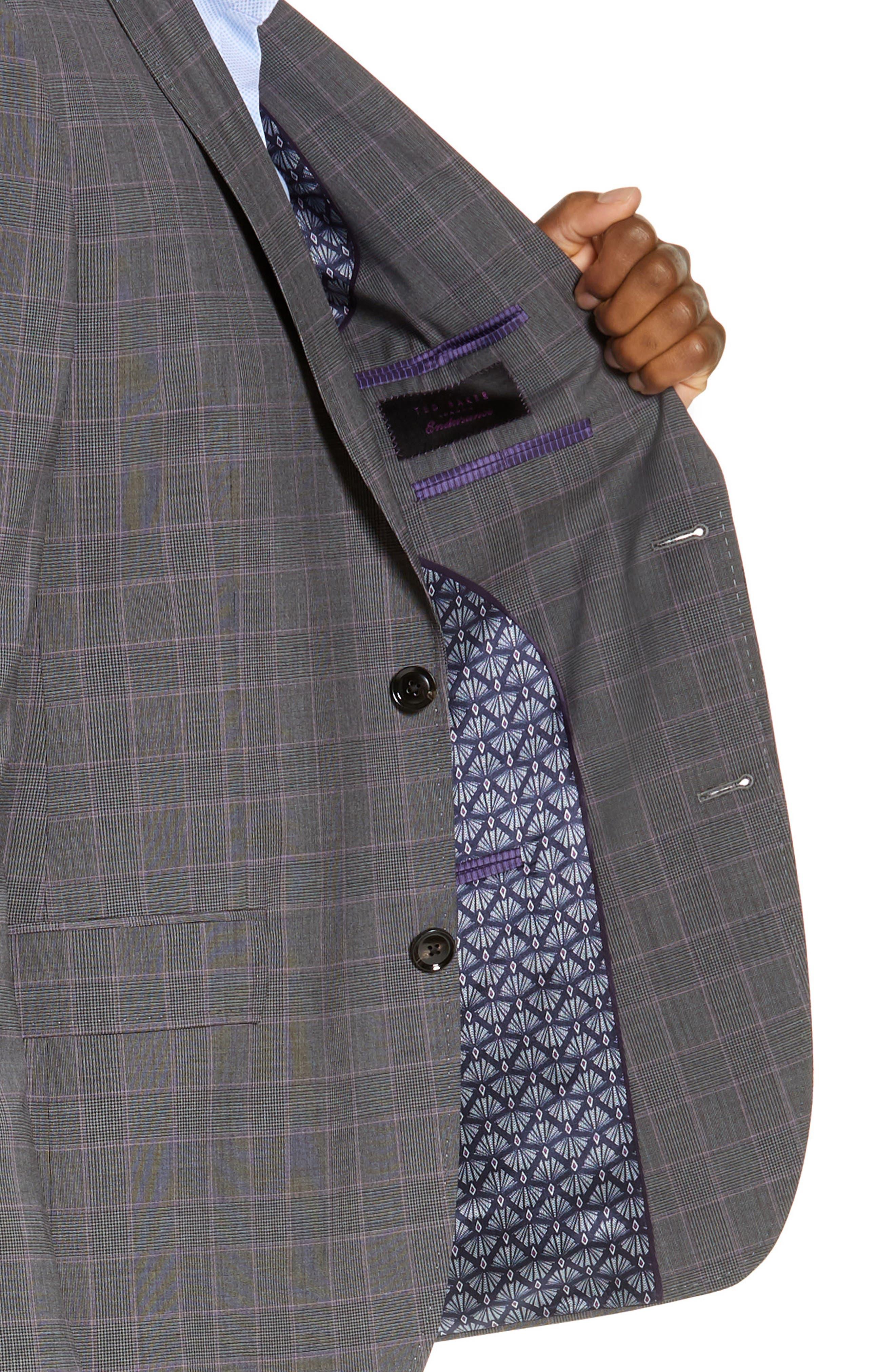 TED BAKER LONDON,                             Jay Trim Fit Plaid Wool Suit,                             Alternate thumbnail 4, color,                             GREY