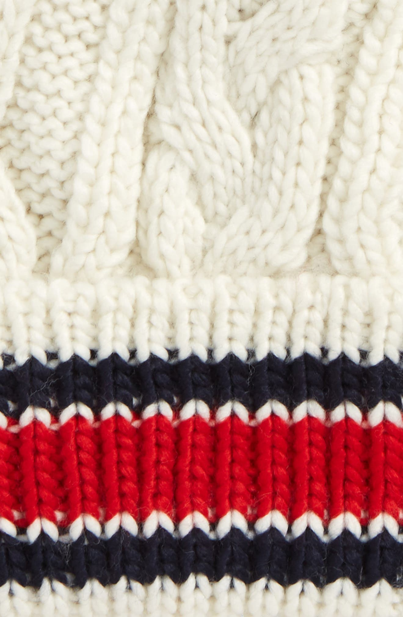 Varsity Stripe Cable Knit Beanie,                             Alternate thumbnail 2, color,                             400