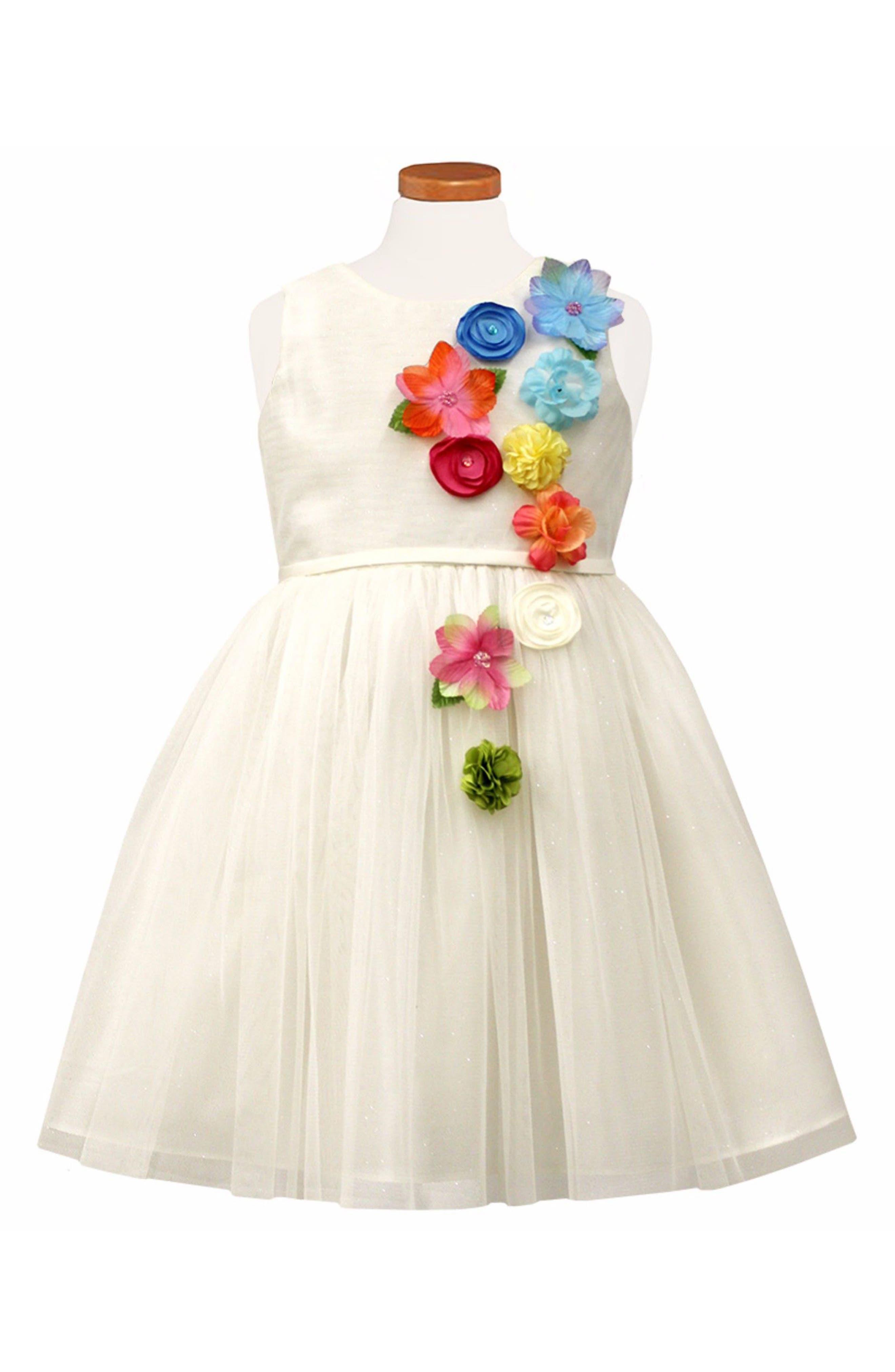 Flower Appliqué Tulle Party Dress,                         Main,                         color, 100