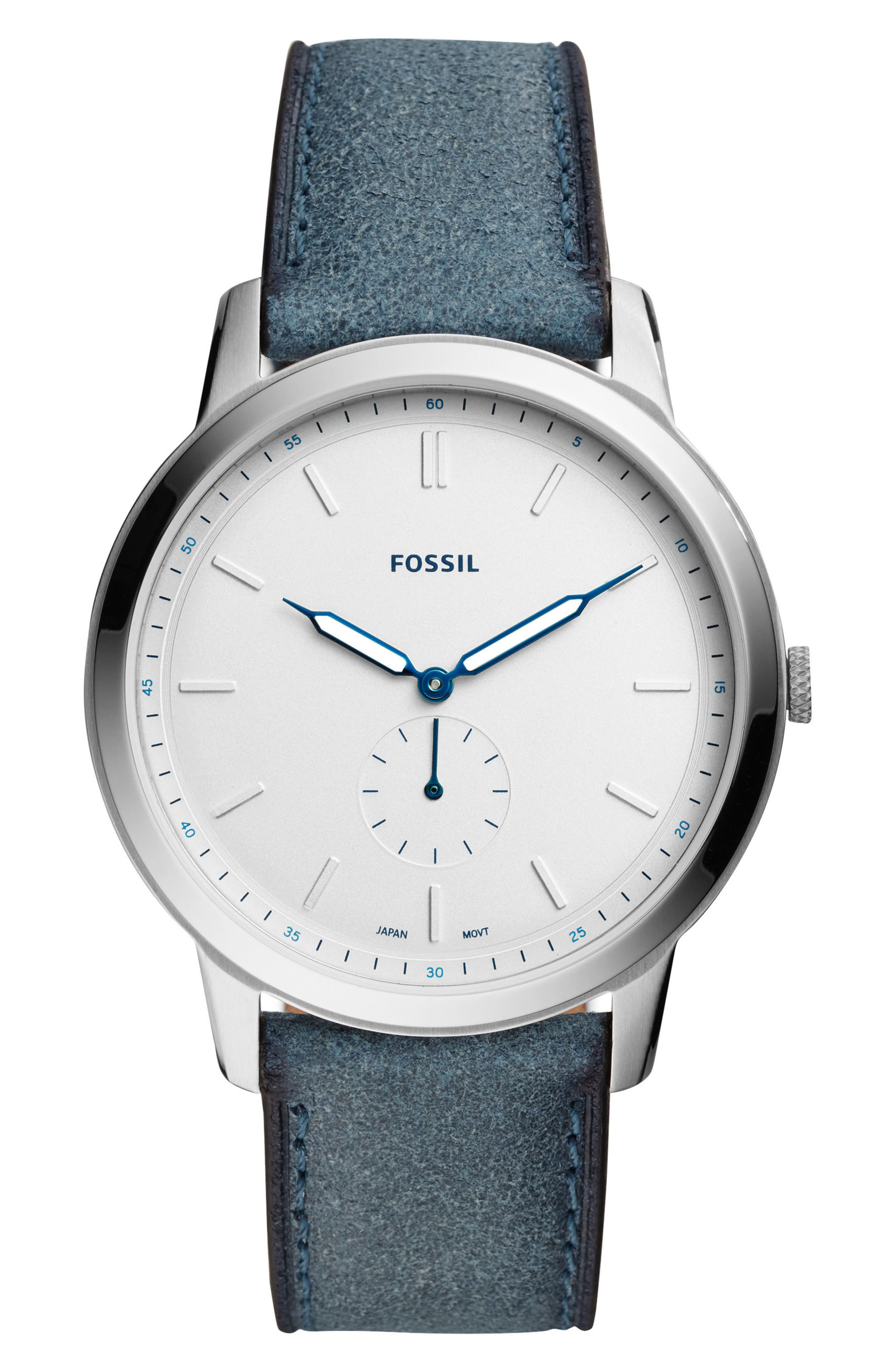 Minimalist Leather Strap Watch, 44mm,                             Main thumbnail 3, color,