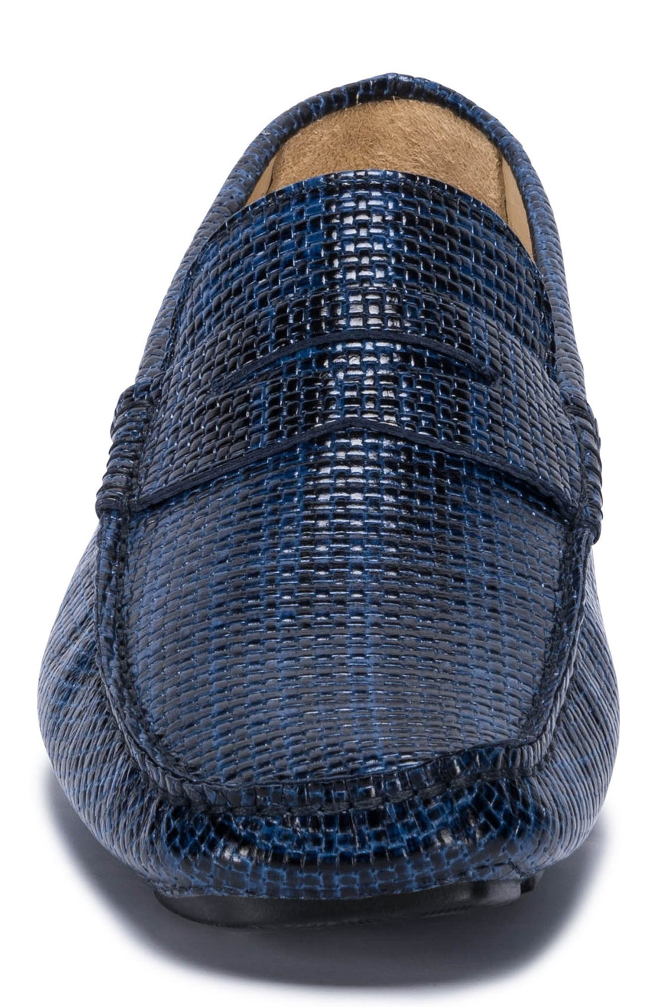 Montalcino Driving Penny Loafer,                             Alternate thumbnail 4, color,                             BLUE LEATHER