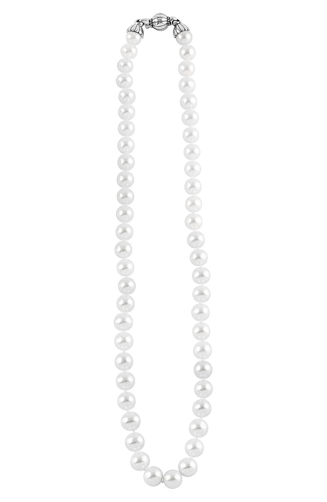 'Luna' 10mm Pearl Necklace,                         Main,                         color, SILVER/ PEARL