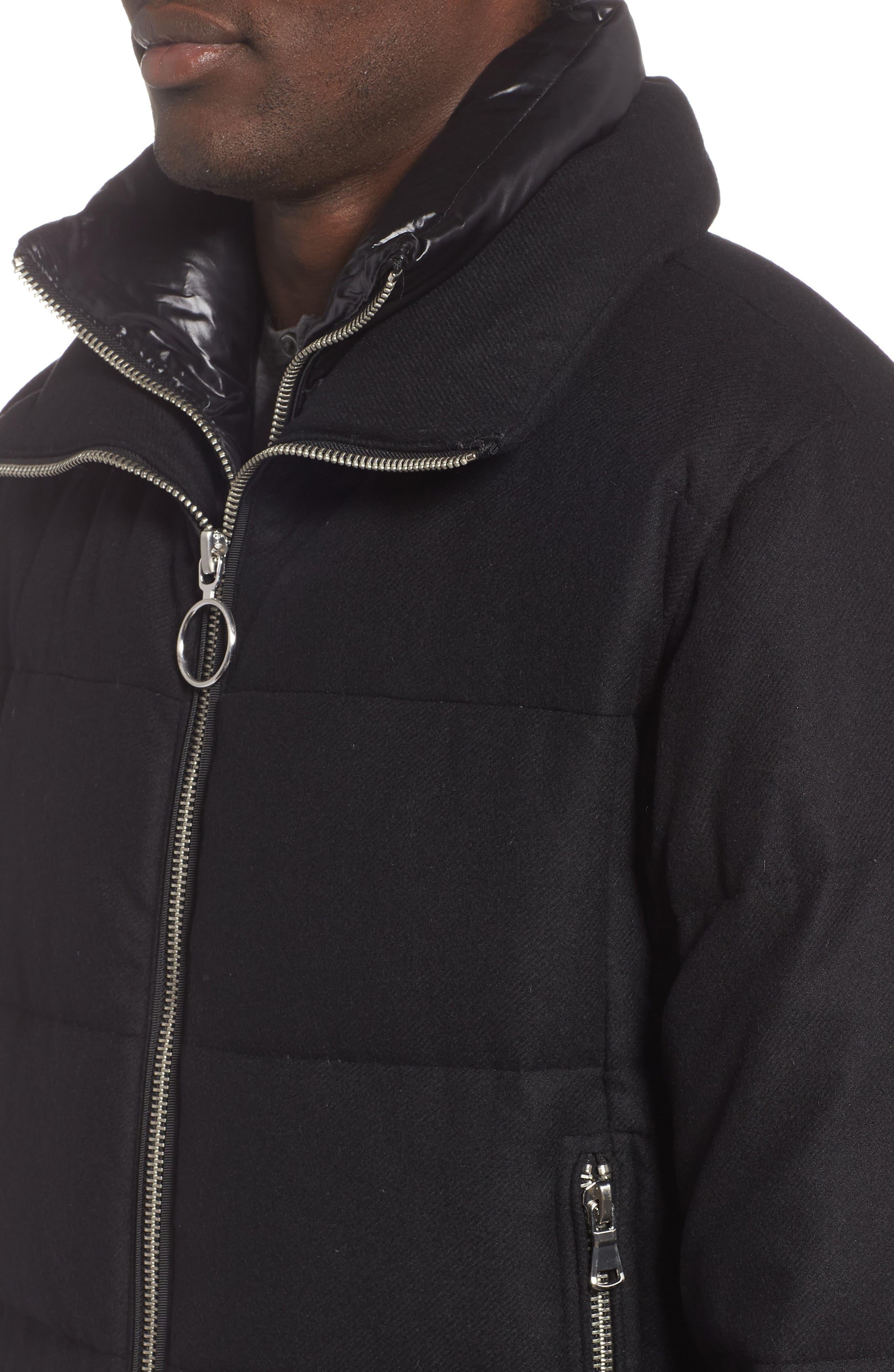 Wool Blend Puffer Jacket,                             Alternate thumbnail 4, color,                             BLACK