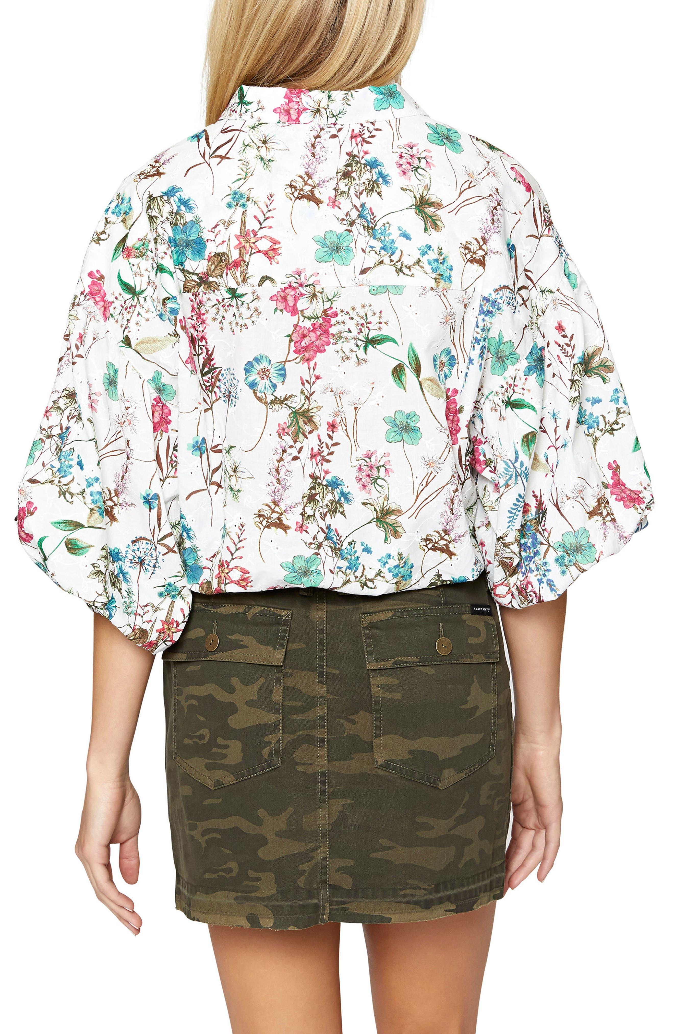 Clover Tie Front Cotton Shirt,                             Alternate thumbnail 4, color,
